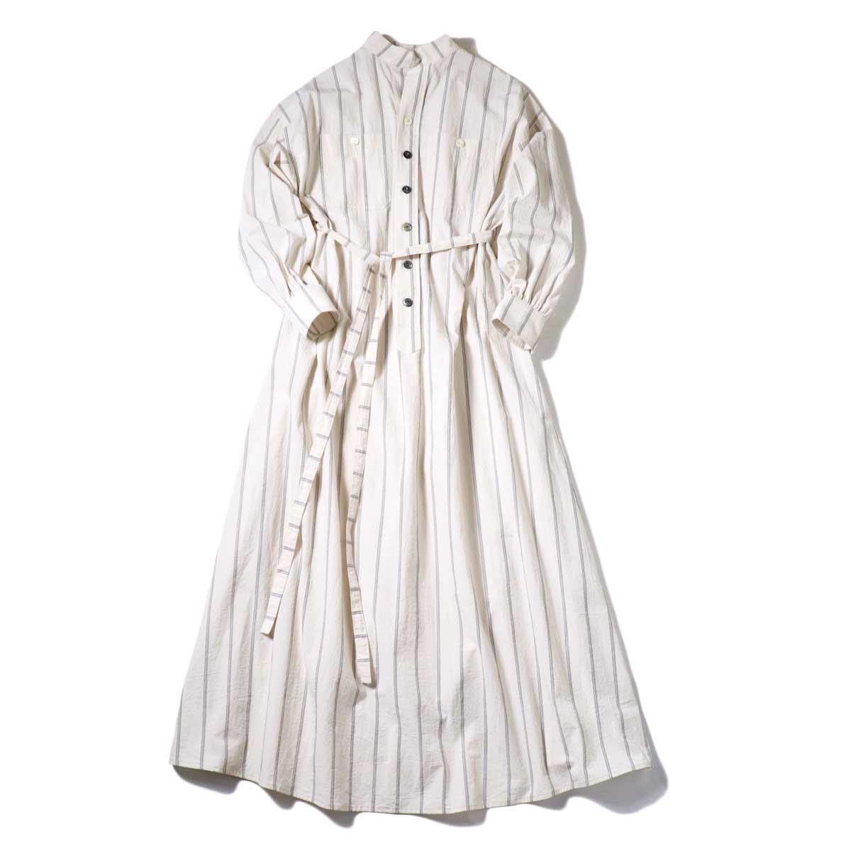 BLUEBIRD BOULEVARD / ブストライプダブルワッシャーシャツドレス (Ivory×Navy・Black) 正面