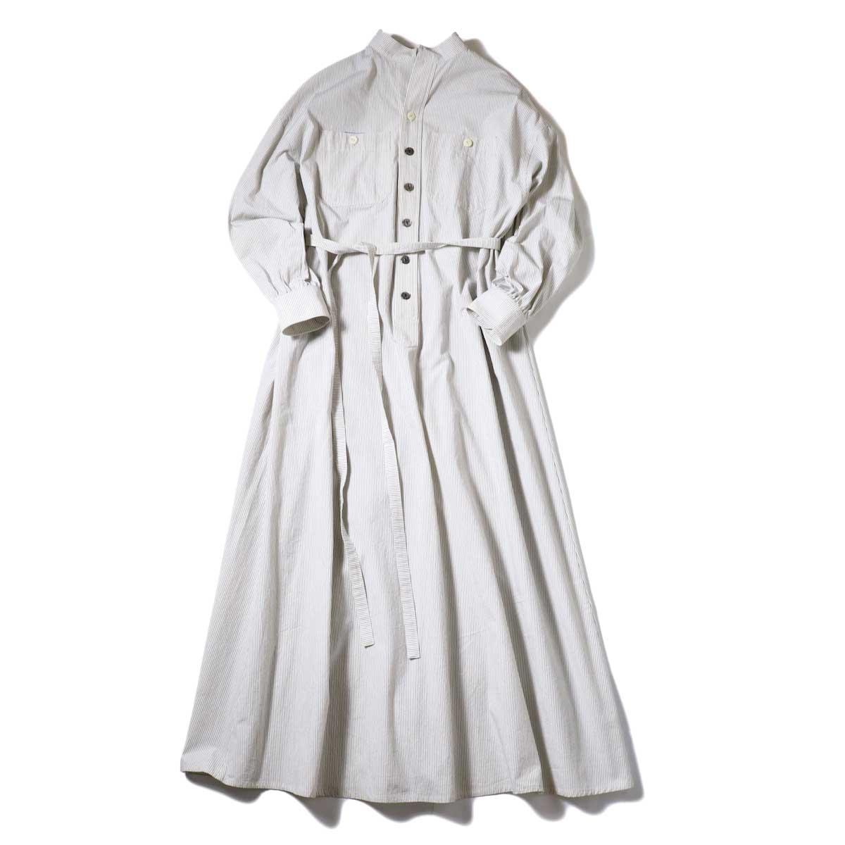 BLUEBIRD BOULEVARD / ブストライプダブルワッシャーシャツドレス (Ivory×Black) 正面