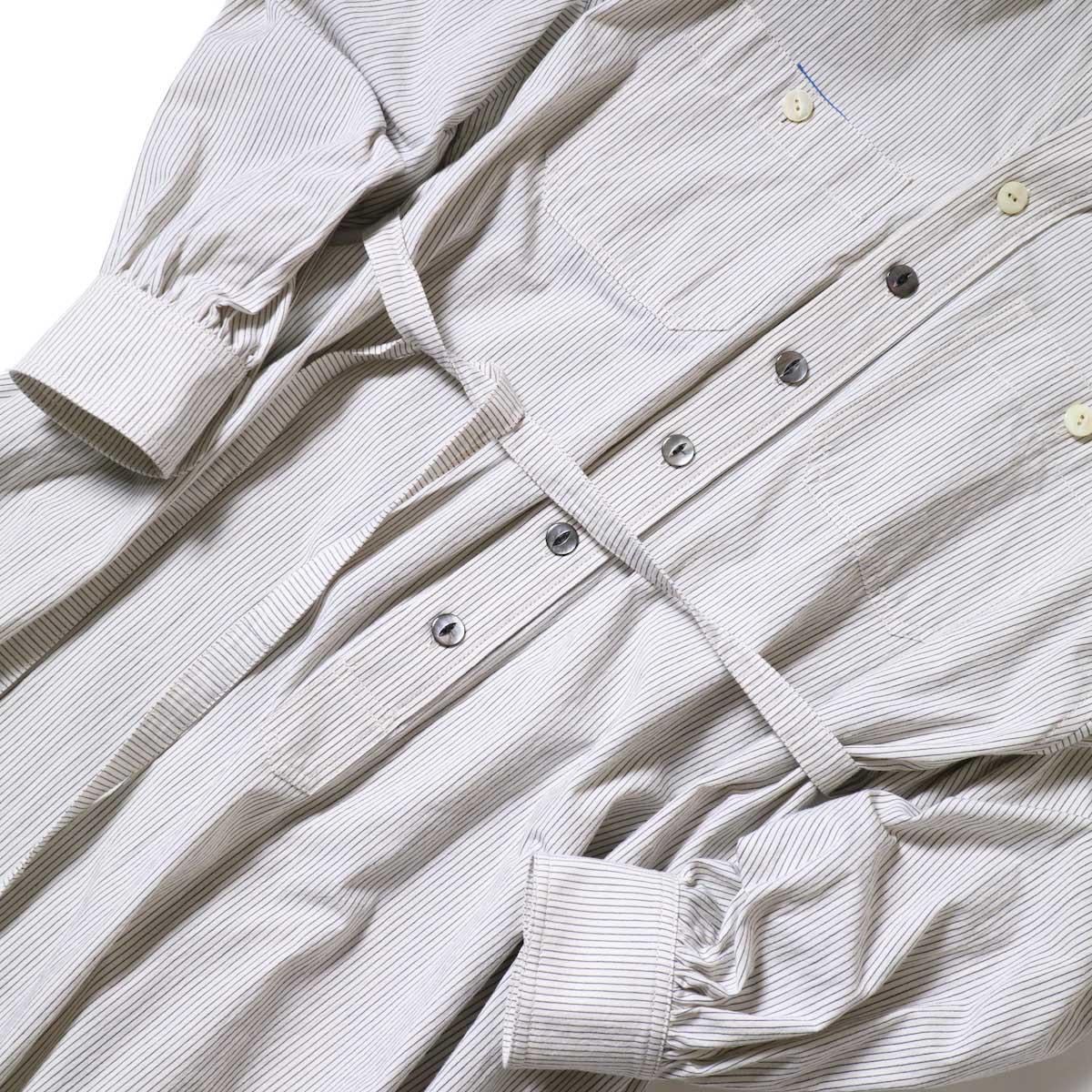 BLUEBIRD BOULEVARD / ブストライプダブルワッシャーシャツドレス (Ivory×Black) ウエスト