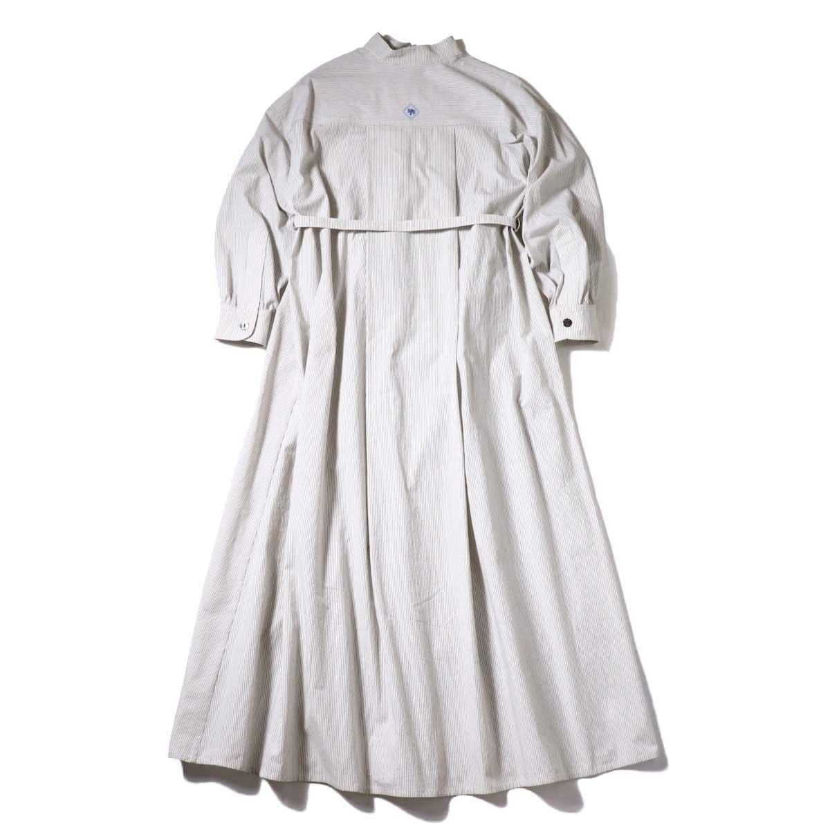 BLUEBIRD BOULEVARD / ブストライプダブルワッシャーシャツドレス (Ivory×Black) 背面