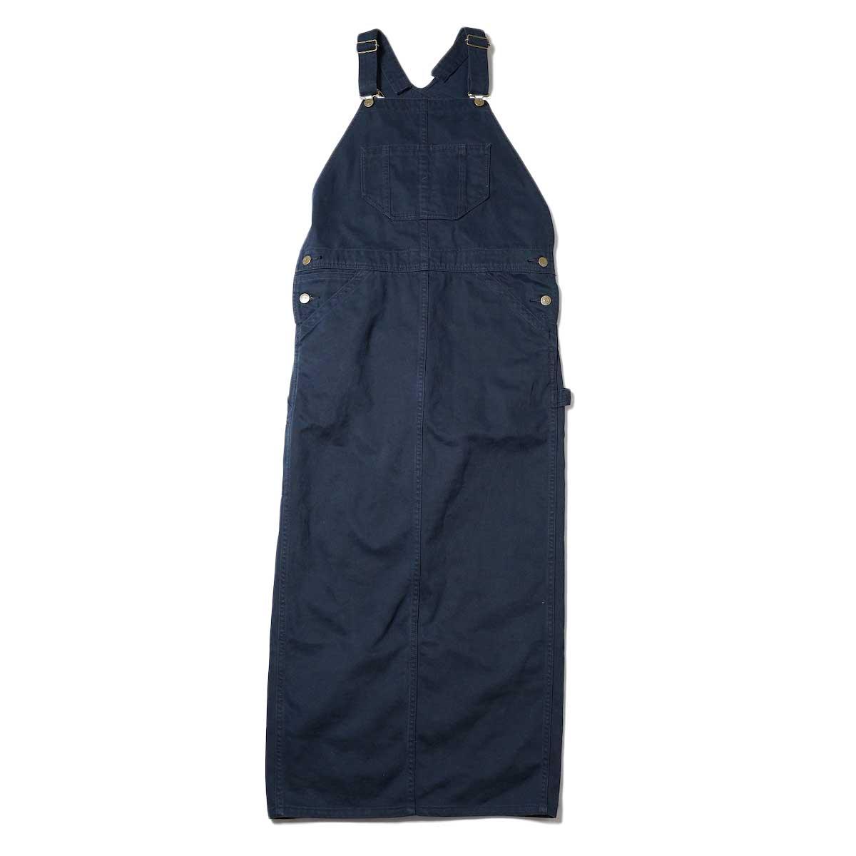 BLUEBIRD BOULEVARD / Classic Warm Worker Satin Jumper Dress (Navy) 正面