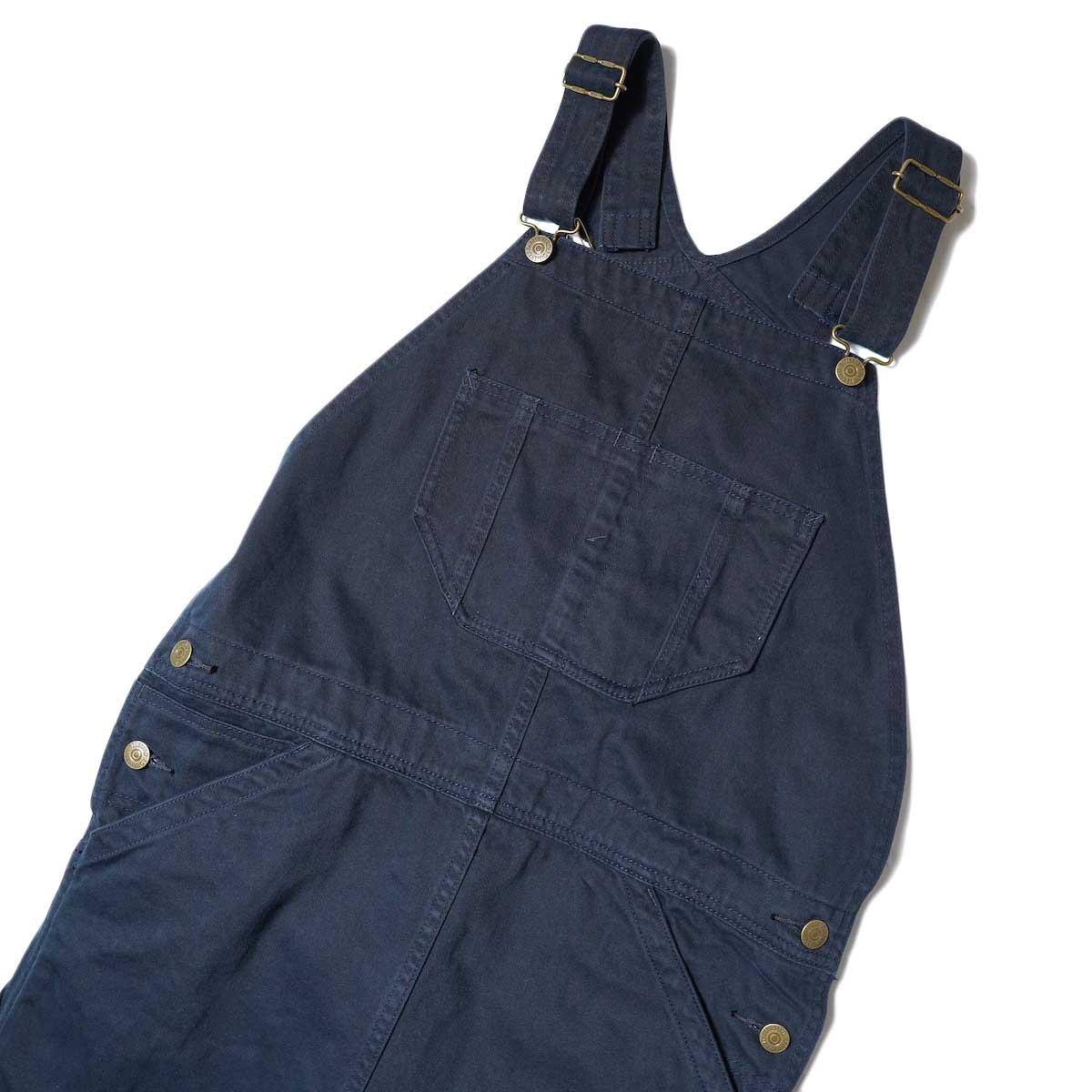 BLUEBIRD BOULEVARD / Classic Warm Worker Satin Jumper Dress (Navy) フロント