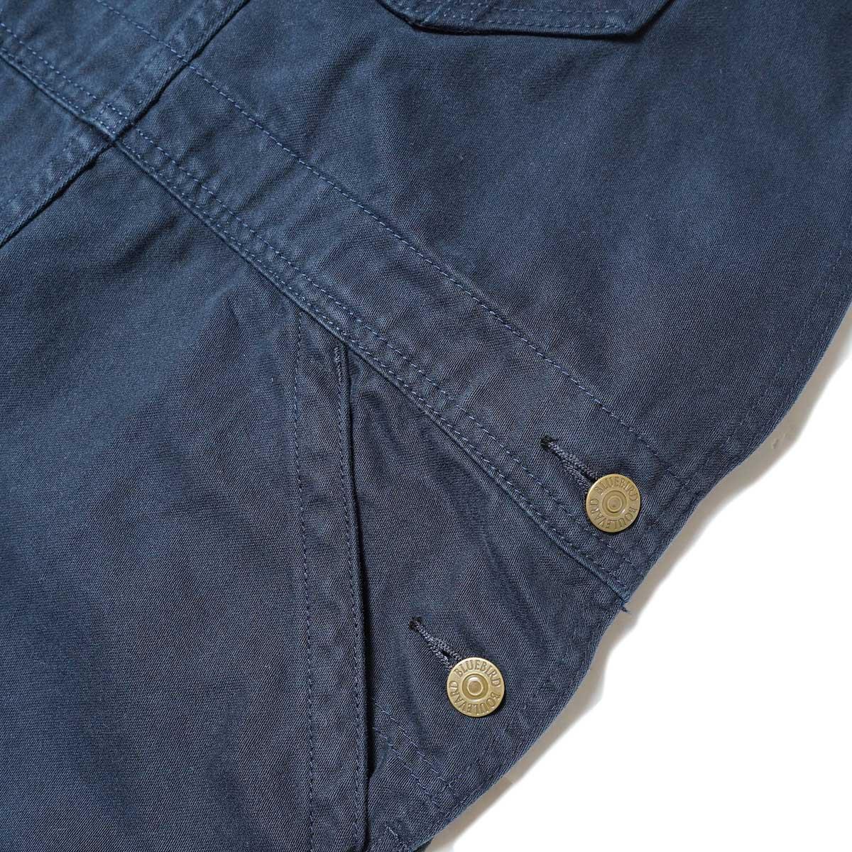 BLUEBIRD BOULEVARD / Classic Warm Worker Satin Jumper Dress (Navy) サイドポケット