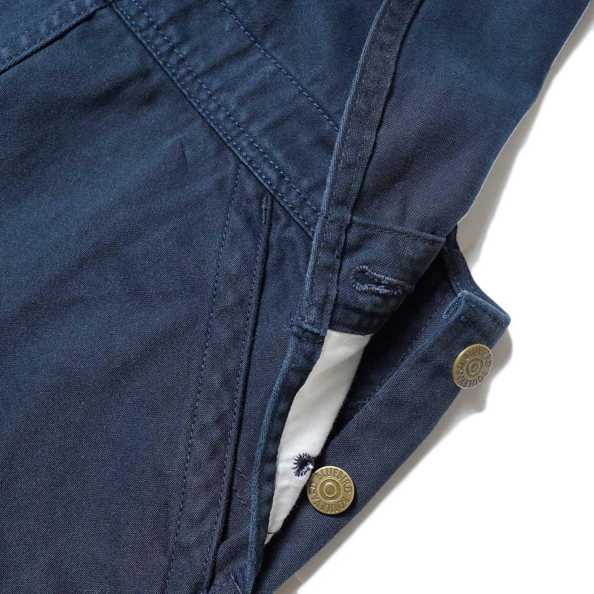 BLUEBIRD BOULEVARD / Classic Warm Worker Satin Jumper Dress (Navy) ボタン開閉