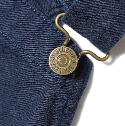 BLUEBIRD BOULEVARD / Classic Warm Worker Satin Jumper Dress (Navy) ボタンアップ