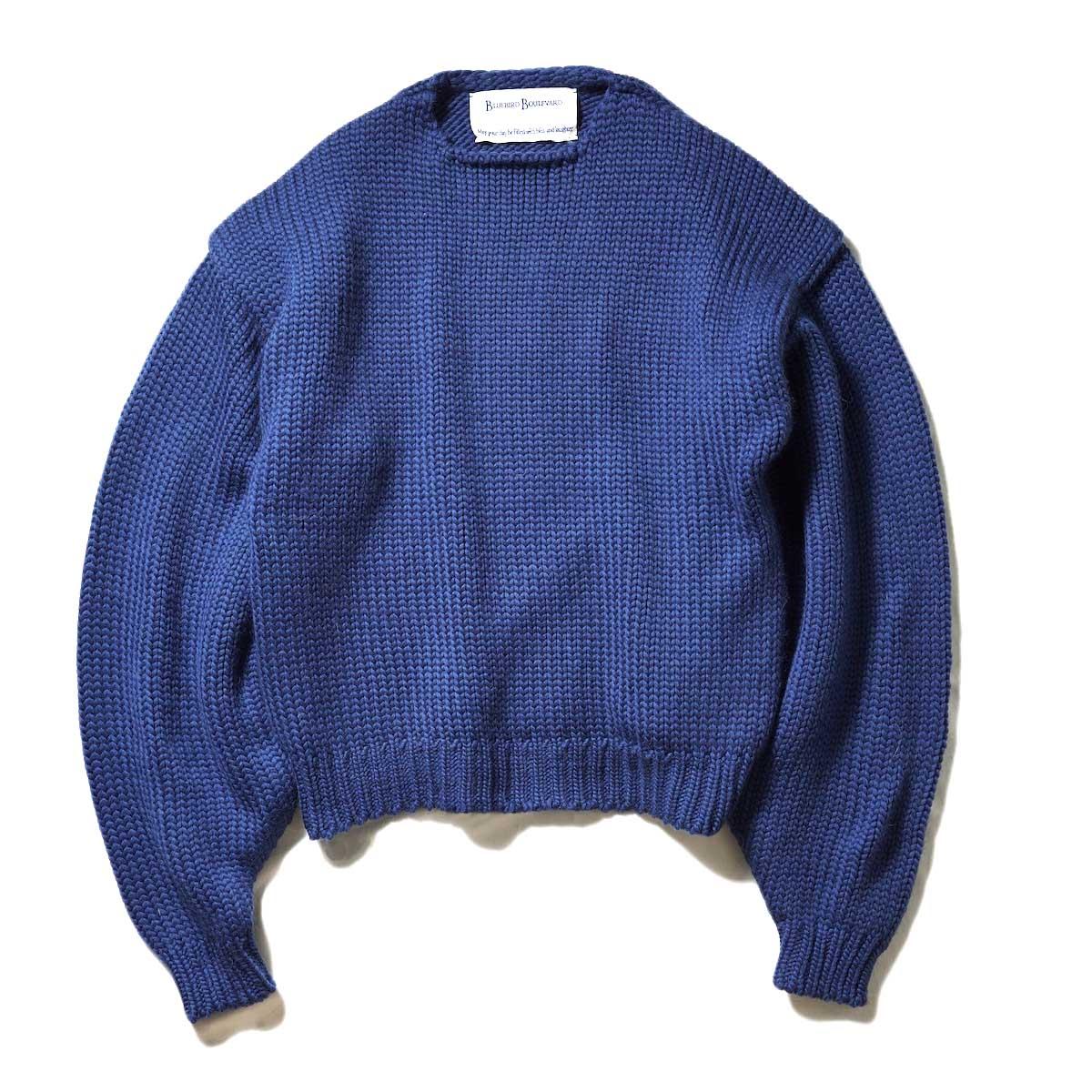 BLUEBIRD BOULEVARD / ウールローバークルーネックセーター (D.Blue)