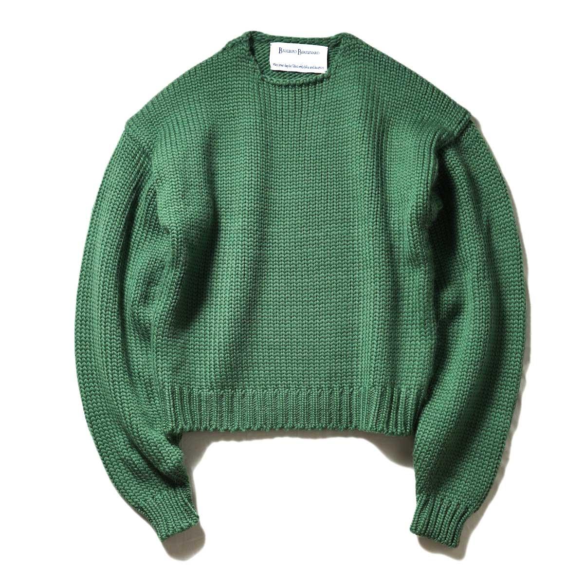 BLUEBIRD BOULEVARD / ウールローバークルーネックセーター (Green)