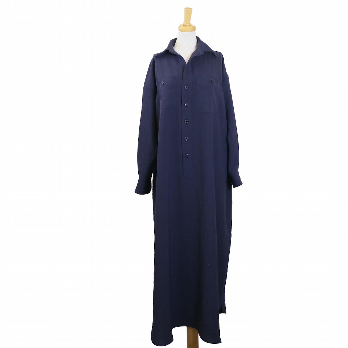 BLUEBIRD BOULEVARD / ドライタッチツイルシャツドレス-NAVY