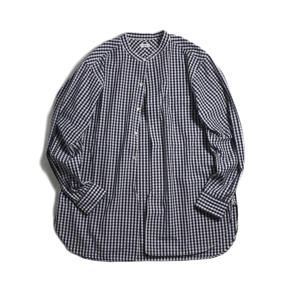 blurhms / Polish Chambray Band Collar Shirt L/S -GMCH-Navy 正面