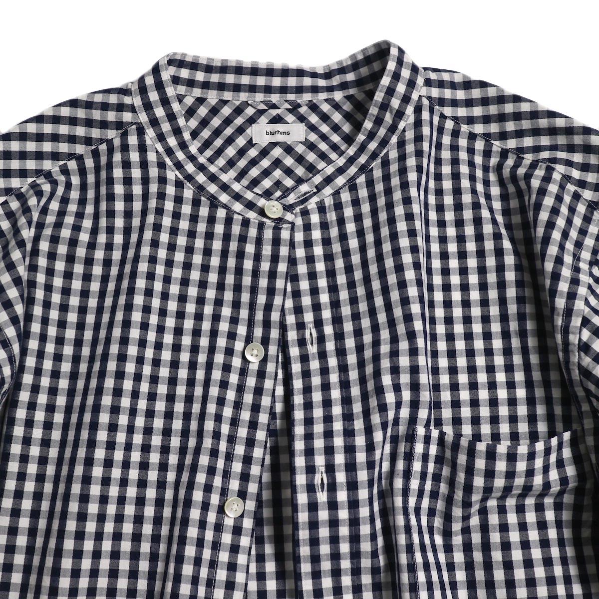 blurhms / Polish Chambray Band Collar Shirt L/S -GMCH-Navy 襟元