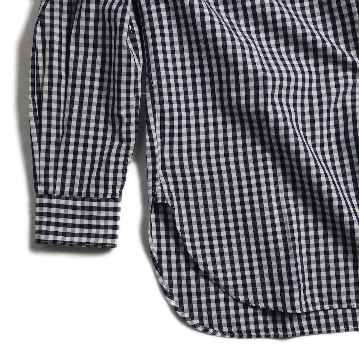 blurhms / Polish Chambray Band Collar Shirt L/S -GMCH-Navy 裾、袖