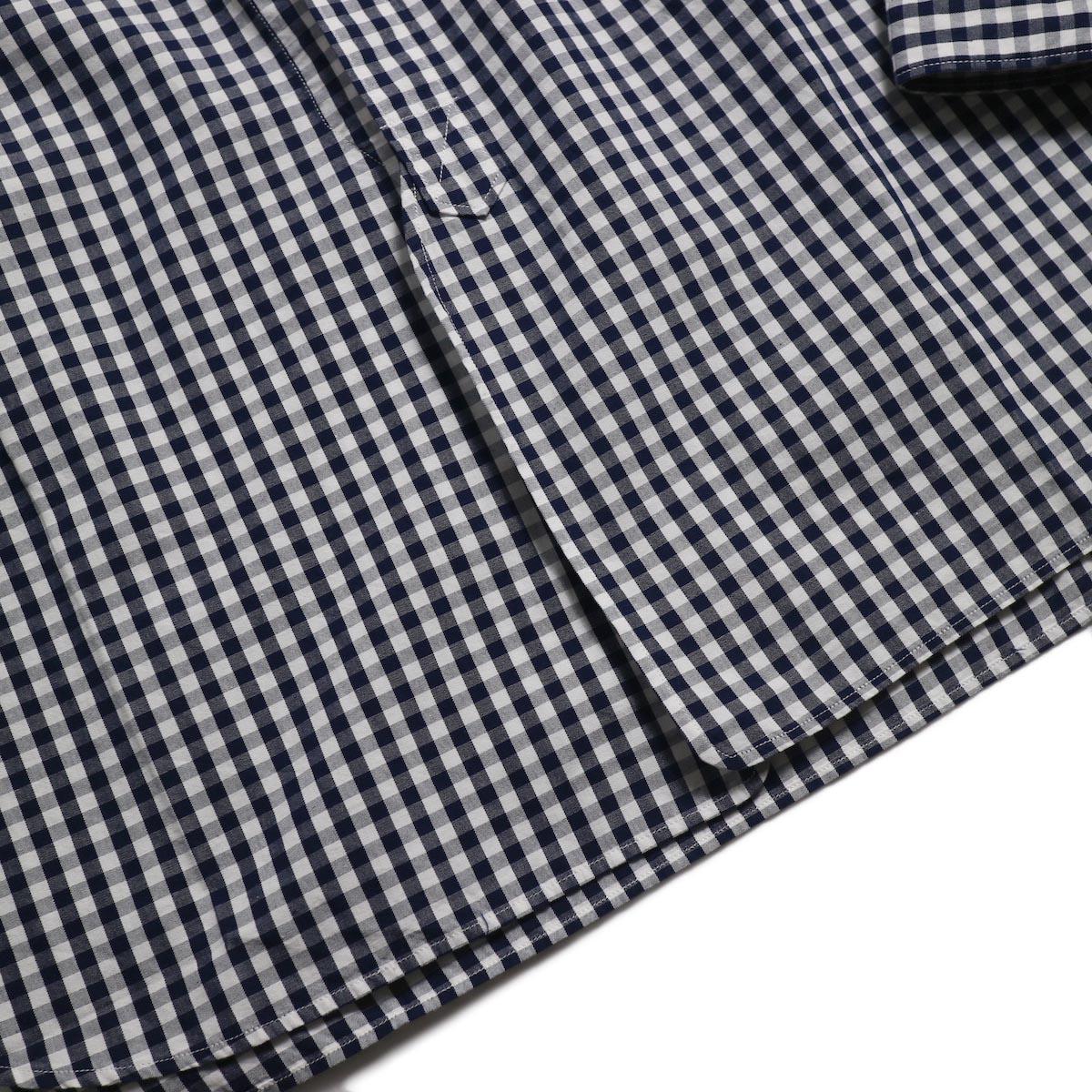 blurhms / Polish Chambray Band Collar Shirt L/S -GMCH-Navy 裾