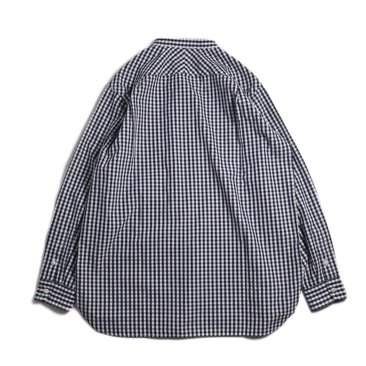 blurhms / Polish Chambray Band Collar Shirt L/S -GMCH-Navy 背面