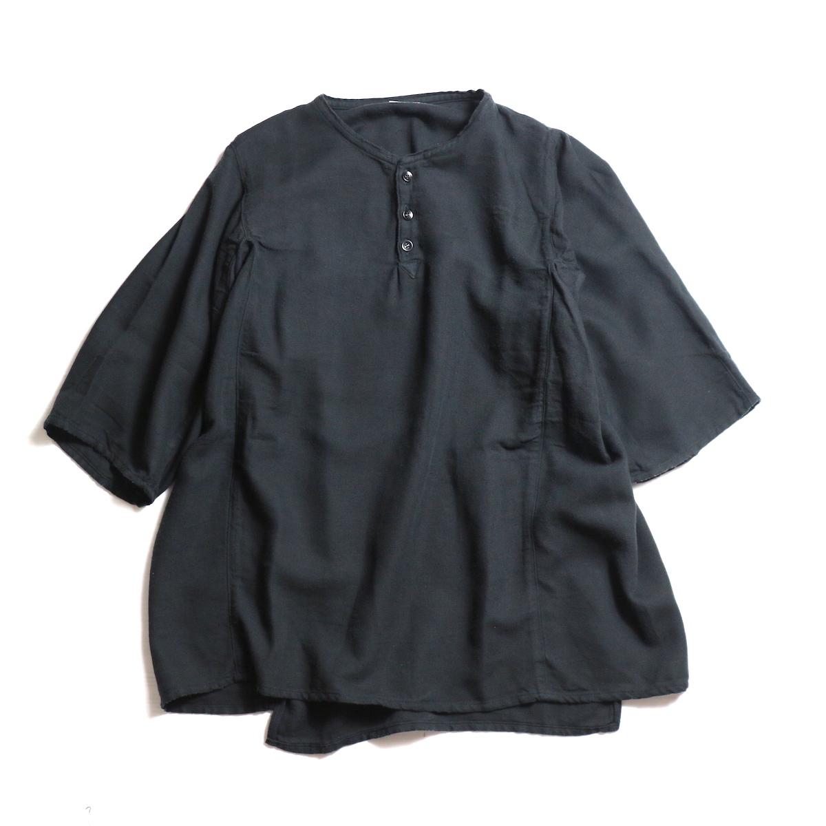 blurhms / Rough Silk Cotton Henry Neck Shirt