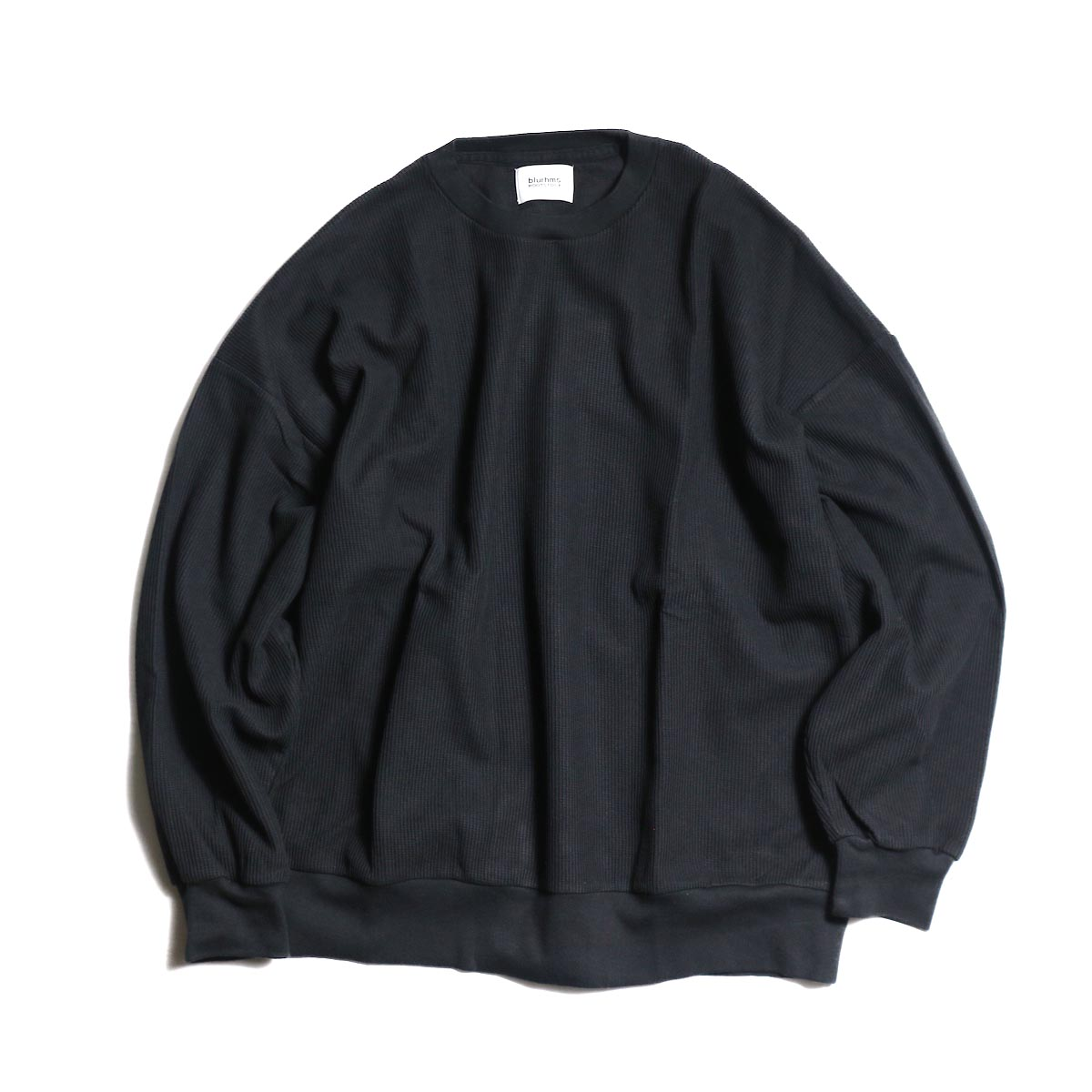 blurhms / New Rough & Smooth Thermal Loose Fit Crew-Neck L/S (Black)