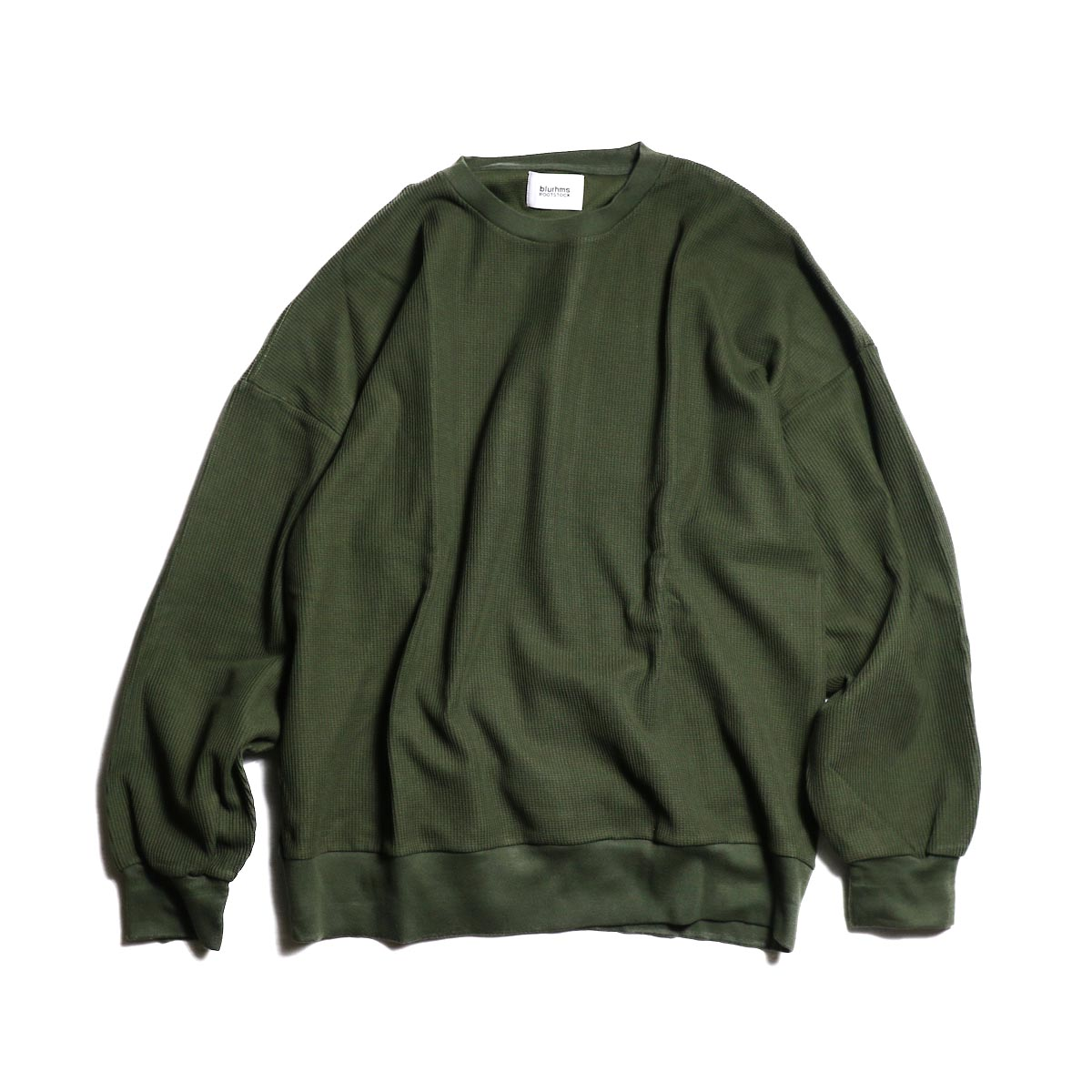 blurhms / New Rough & Smooth Thermal Loose Fit Crew-Neck L/S (Olive)