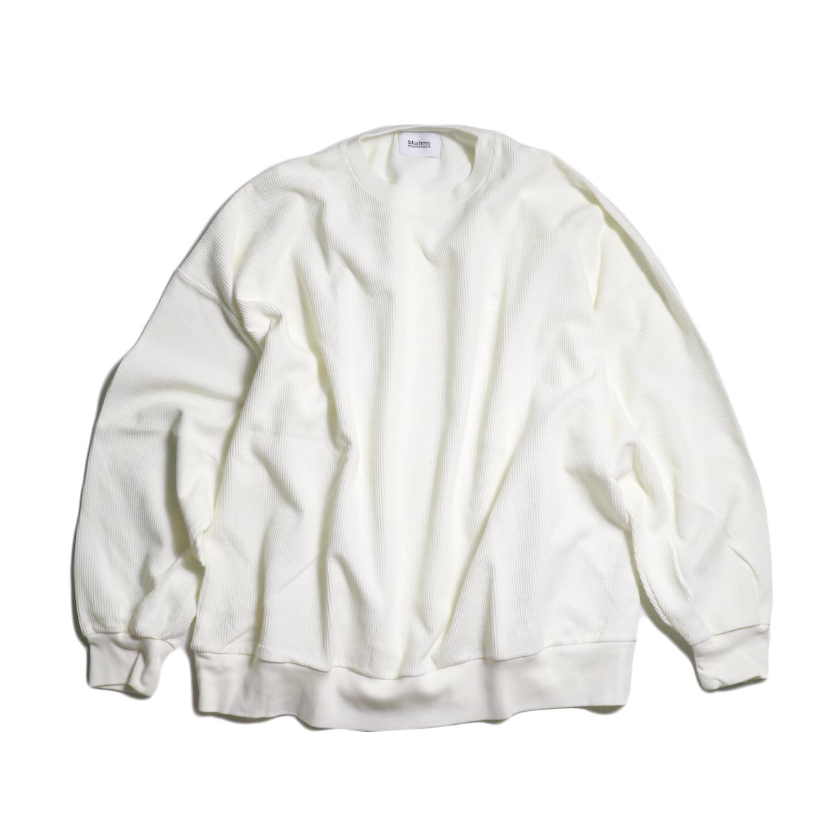 blurhms / New Rough & Smooth Thermal Loose Fit Crew-Neck L/S (White)