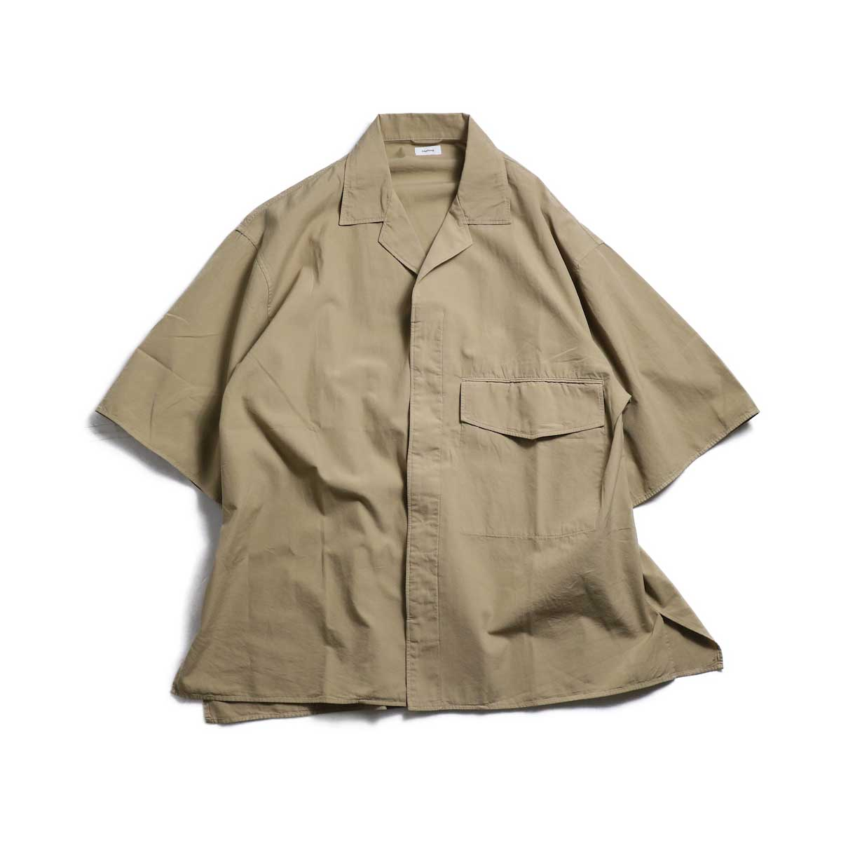 blurhms / Polish Chambray Wide Sleeve Box Shirt -Beige