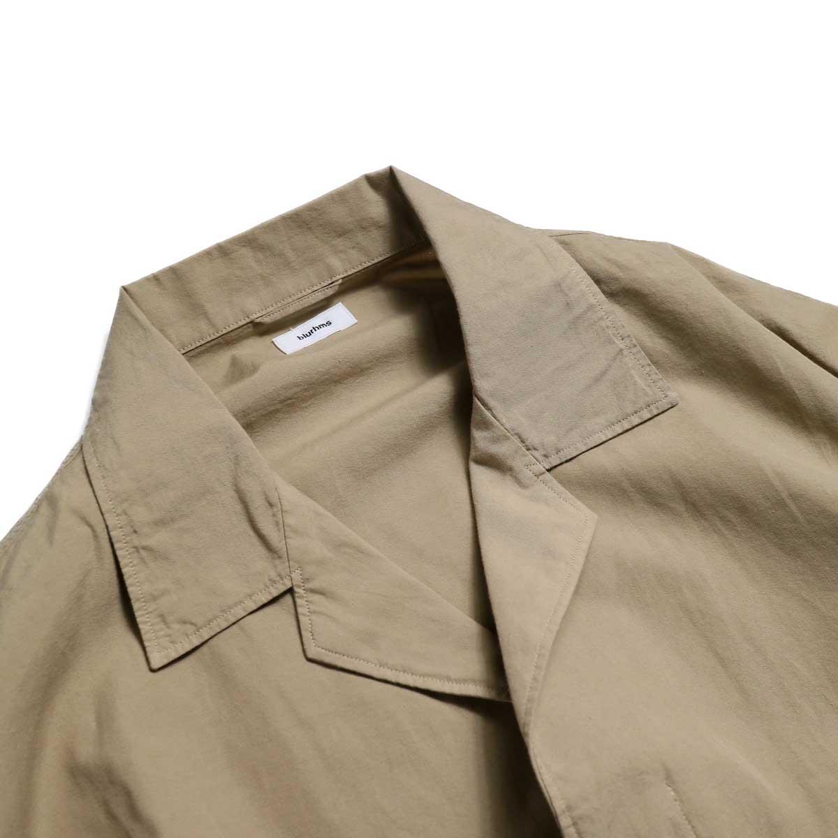 blurhms / Polish Chambray Wide Sleeve Box Shirt -Beige オープンカラー