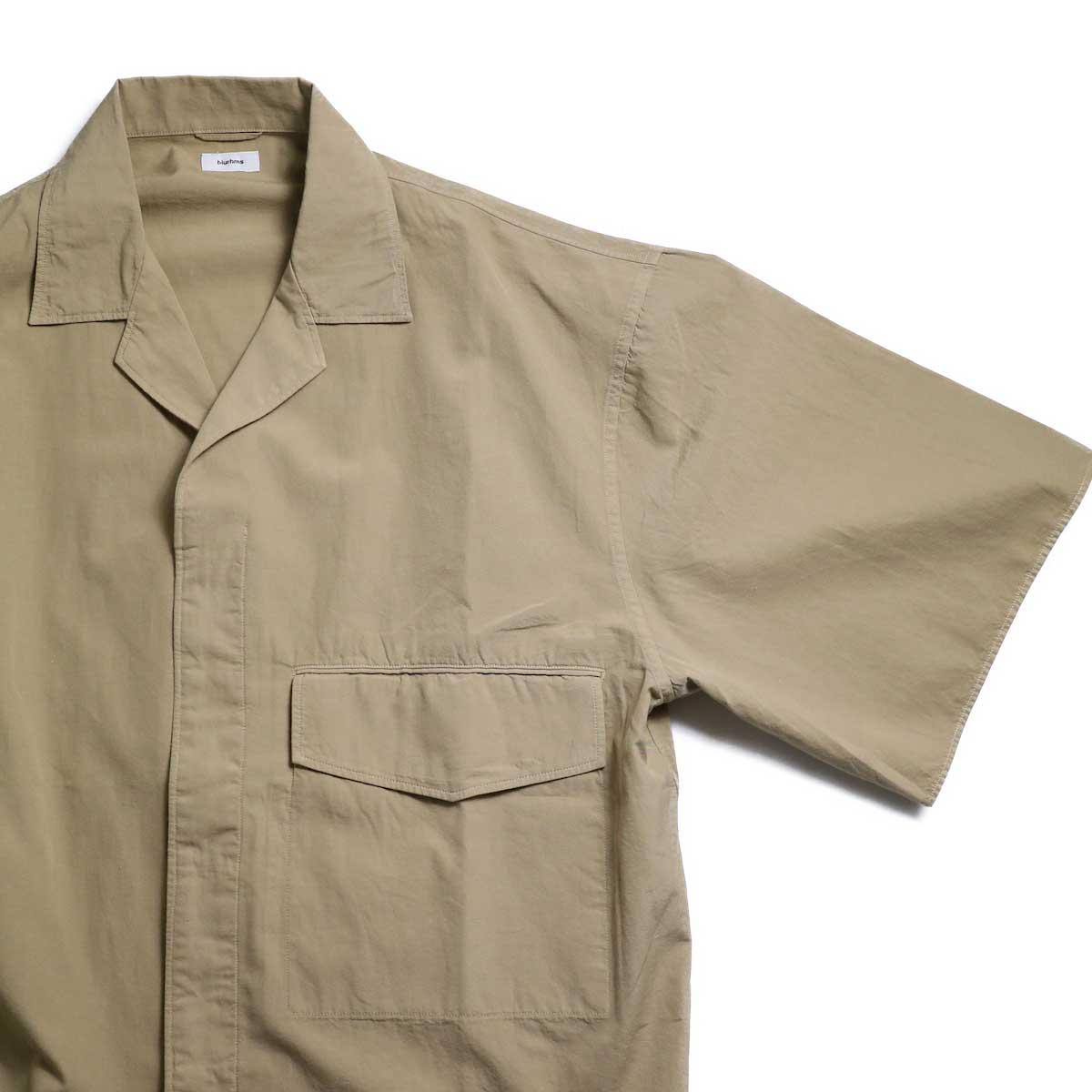 blurhms / Polish Chambray Wide Sleeve Box Shirt -Beige フラップポケット、比翼