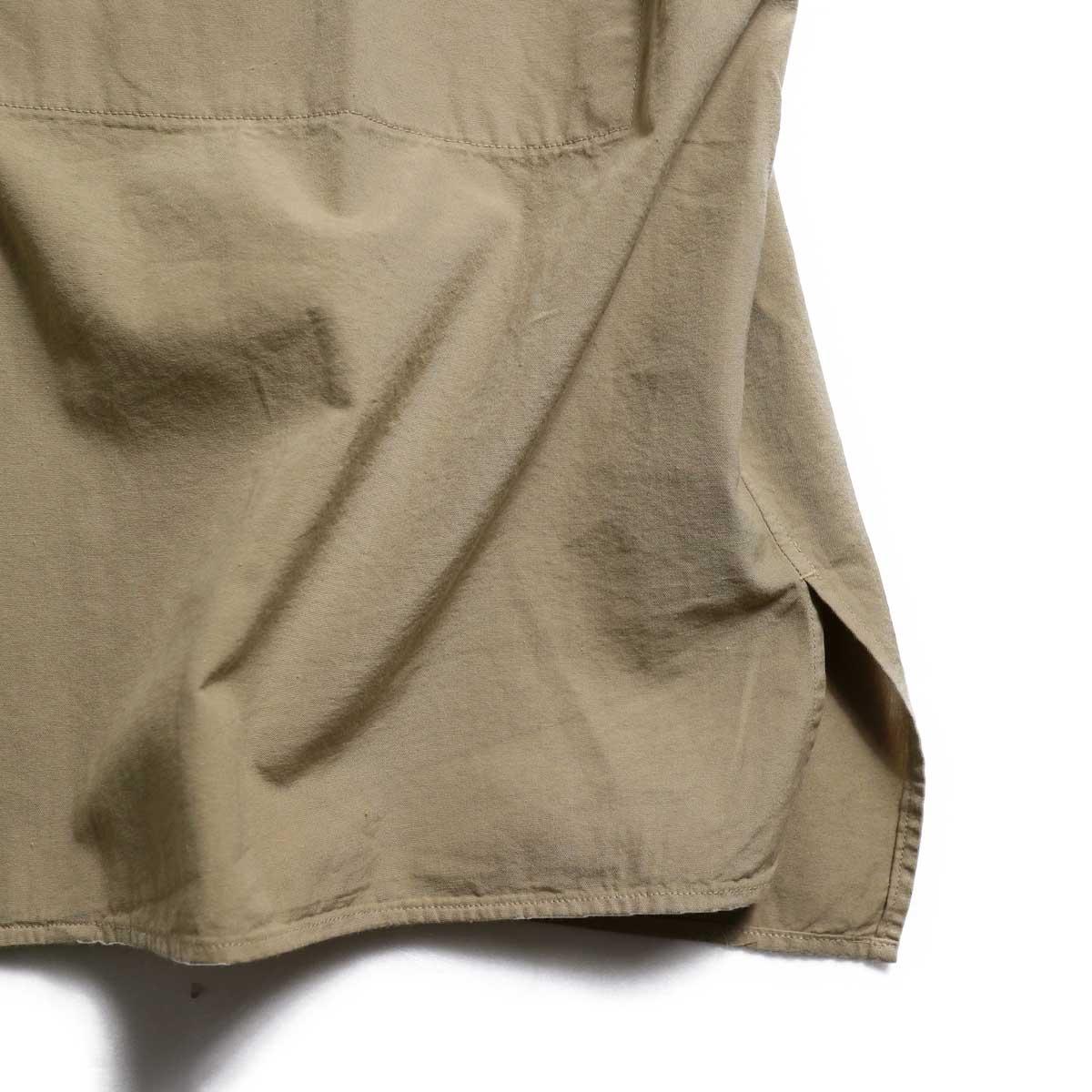blurhms / Polish Chambray Wide Sleeve Box Shirt -Beige スリット