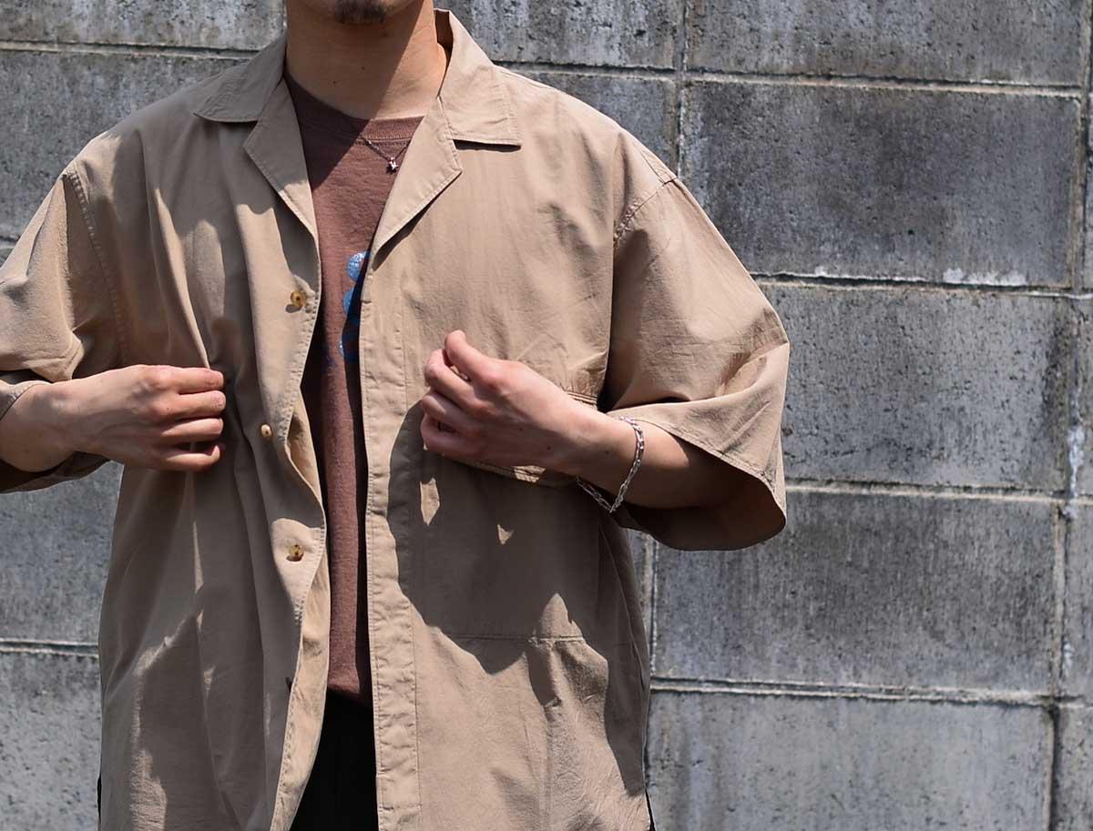 blurhms / Polish Chambray Wide Sleeve Box Shirt -Navy 着用イメージ②