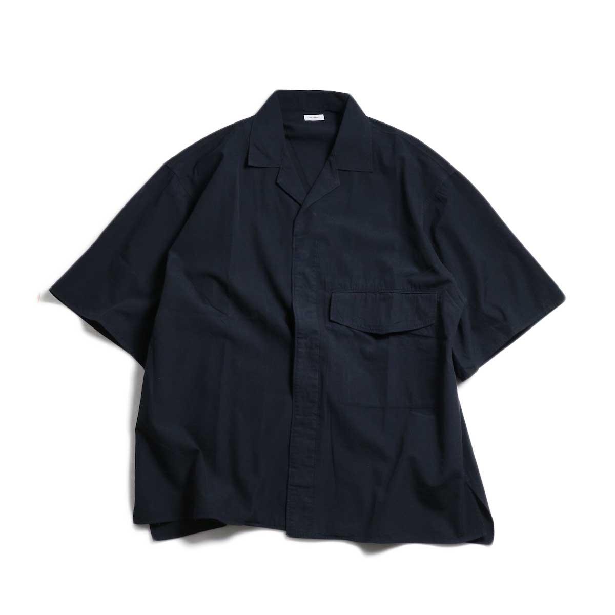 blurhms / Polish Chambray Wide Sleeve Box Shirt -Navy 正面