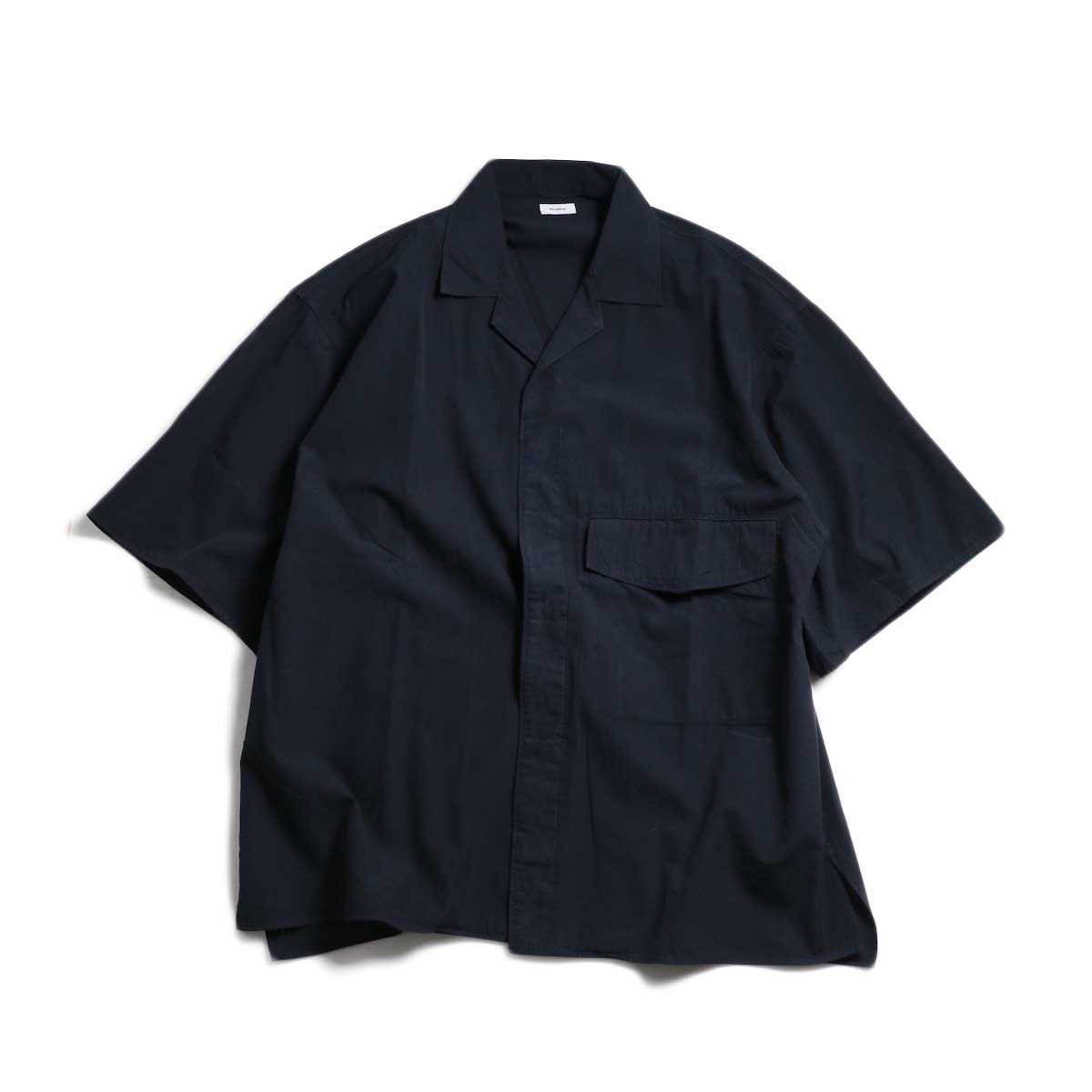 blurhms / Polish Chambray Wide Sleeve Box Shirt -Navy