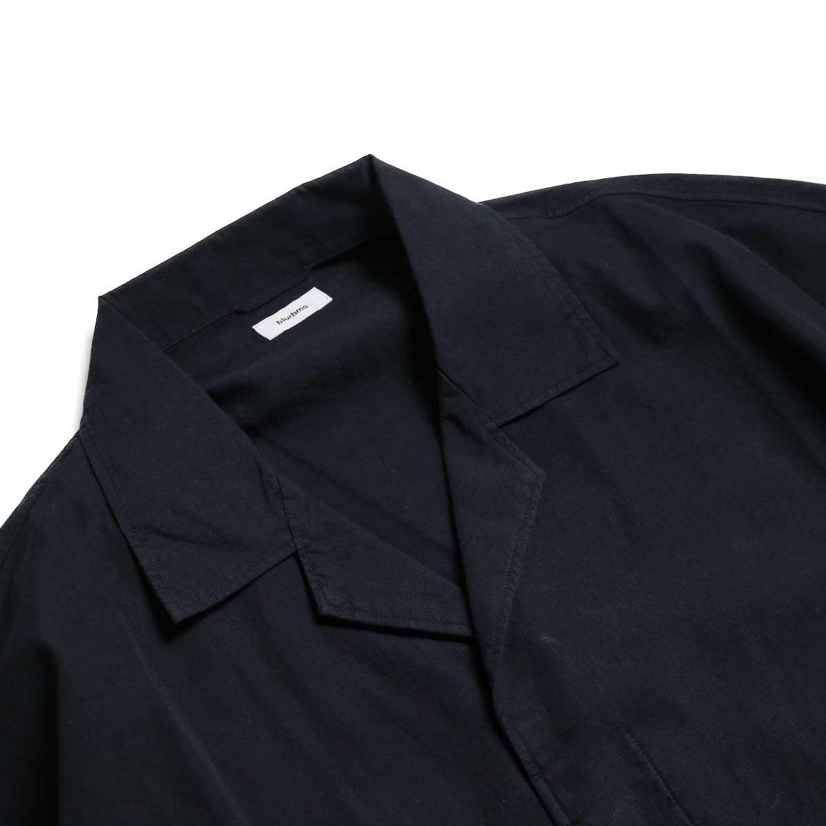 blurhms / Polish Chambray Wide Sleeve Box Shirt -Navy オープンカラー