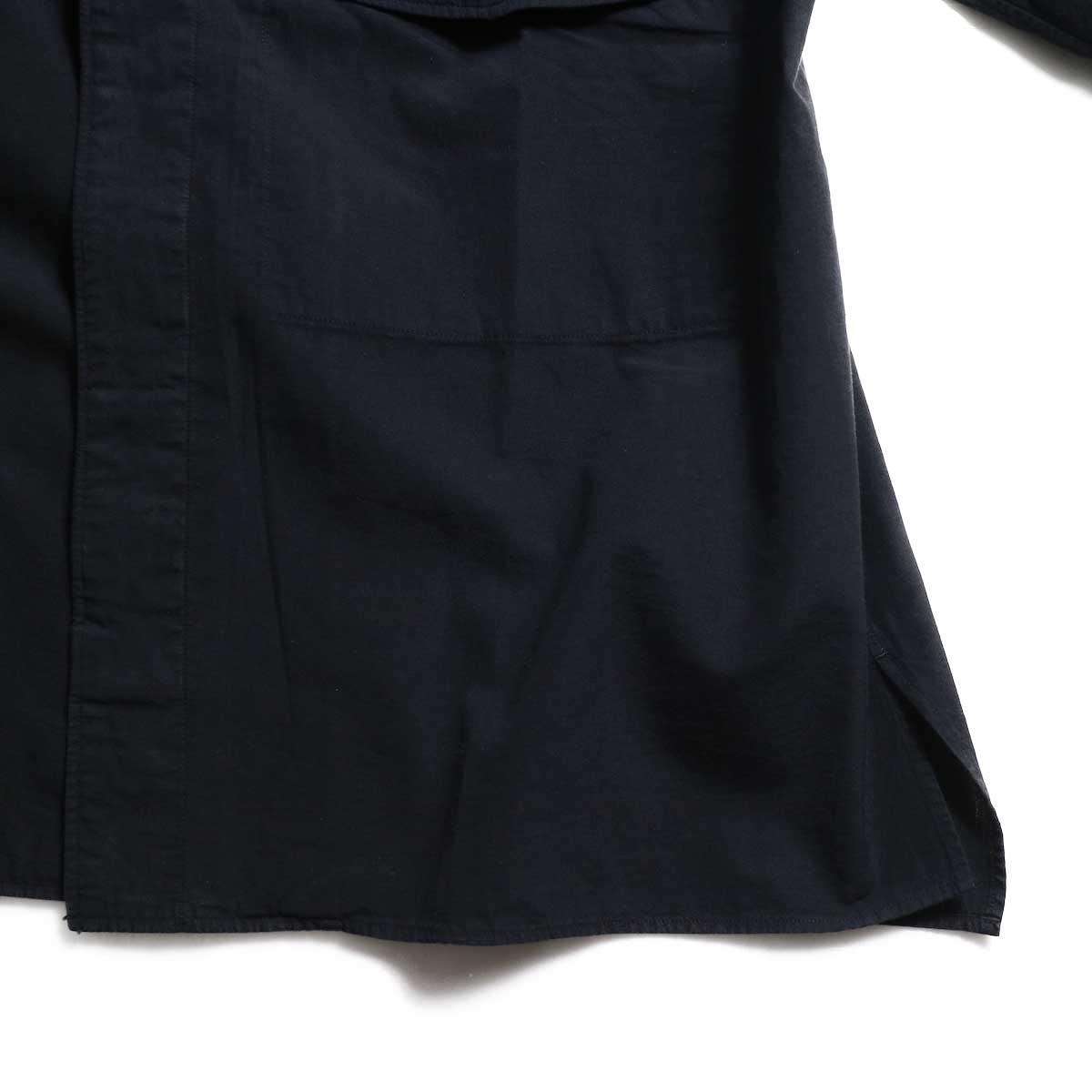 blurhms / Polish Chambray Wide Sleeve Box Shirt -Navy スリット