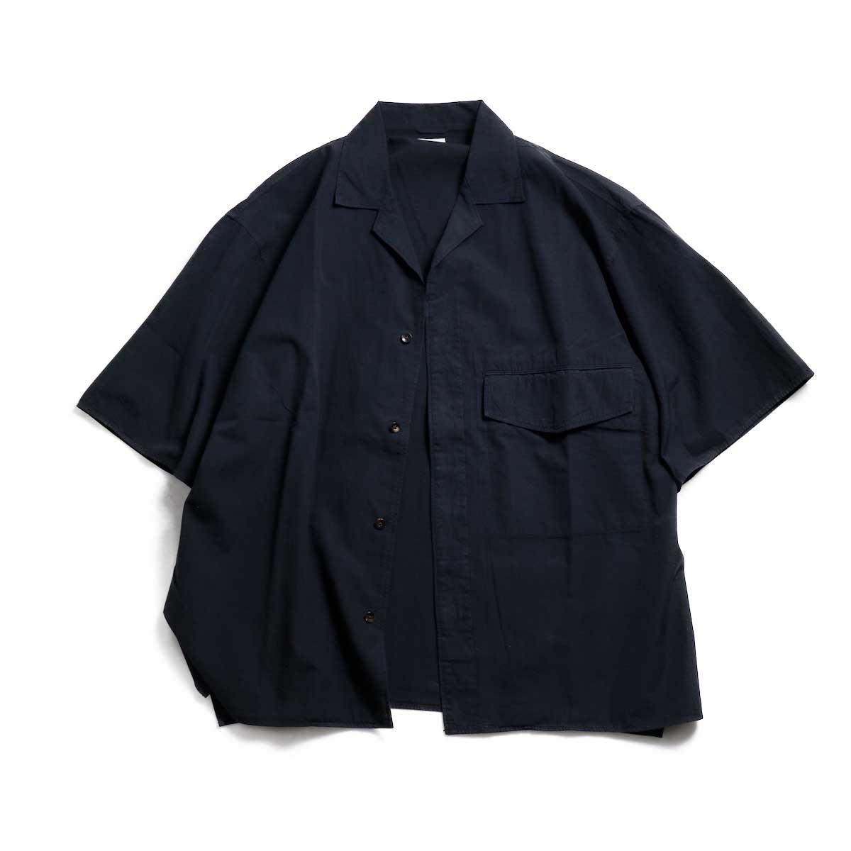 blurhms / Polish Chambray Wide Sleeve Box Shirt -Navy ボタンオープン