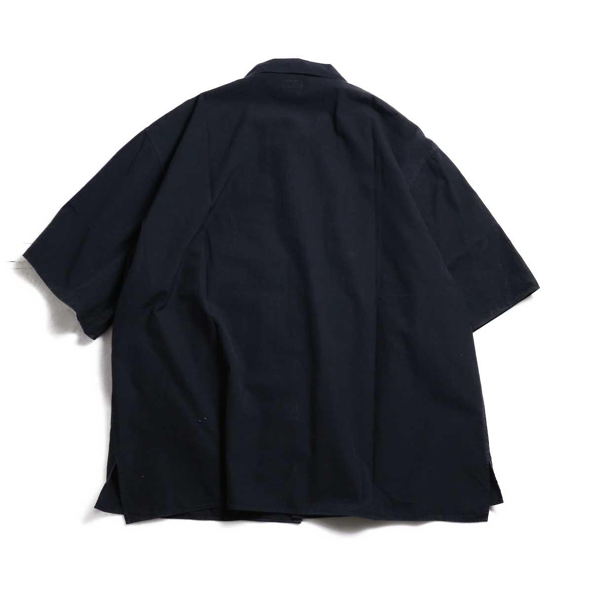 blurhms / Polish Chambray Wide Sleeve Box Shirt -Navy 背面