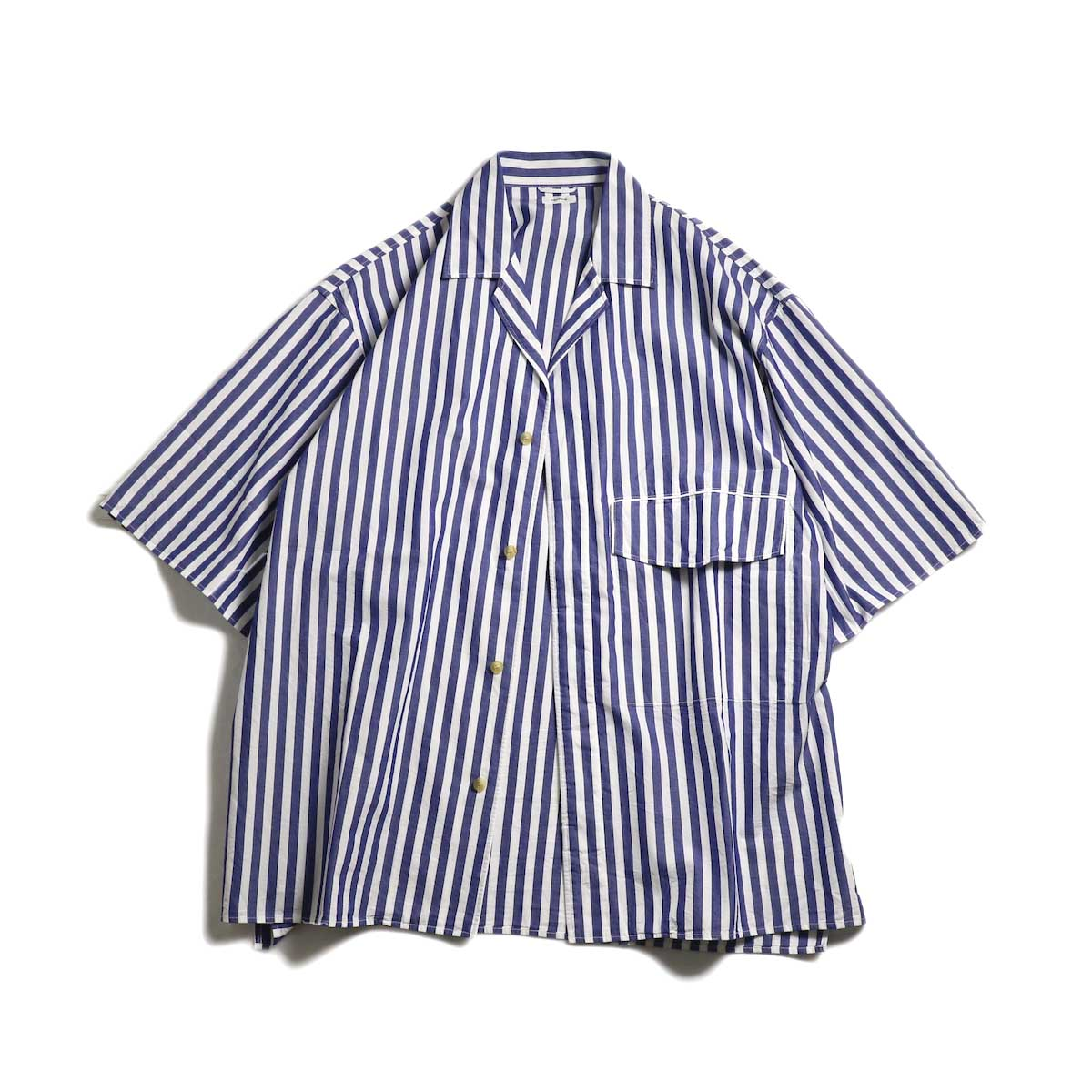 blurhms / Polish Chambray Wide Sleeve Box Shirt -STR-Navy