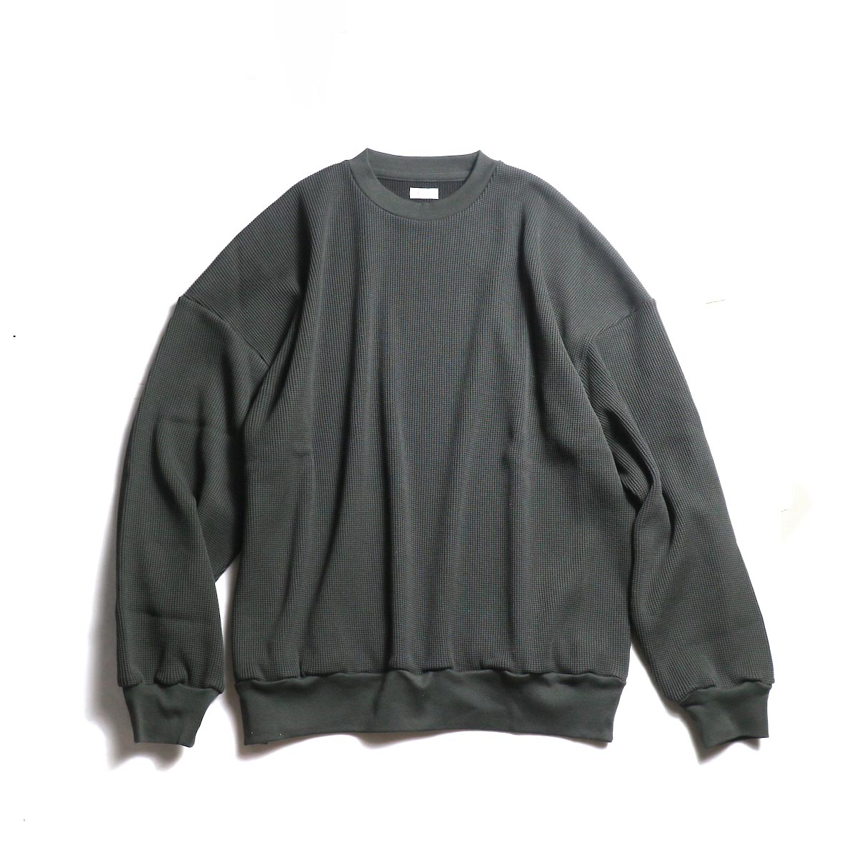 blurhms / Cotton Cupro Waffle Pullover L/S (Charcoal) 正面