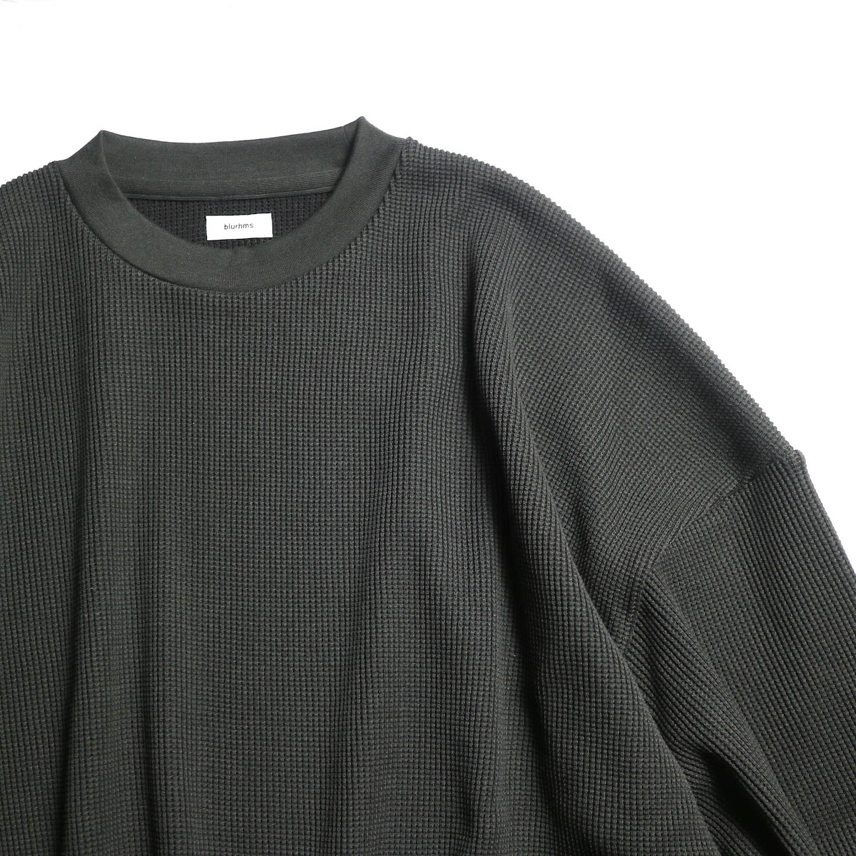 blurhms / Cotton Cupro Waffle Pullover L/S (Charcoal)  襟