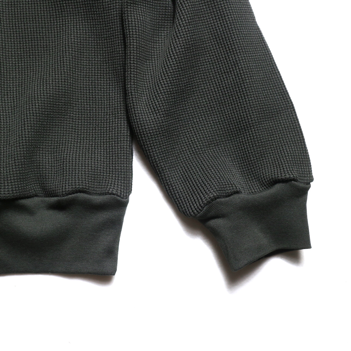 blurhms / Cotton Cupro Waffle Pullover L/S (Charcoal)   袖、裾