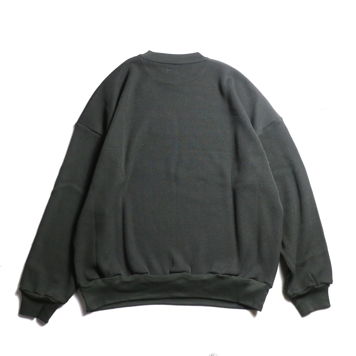 blurhms / Cotton Cupro Waffle Pullover L/S (Charcoal)   背面