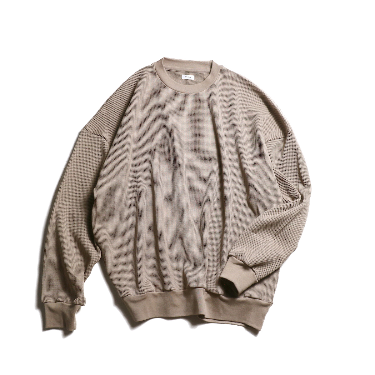 blurhms / Cotton Cupro Waffle Pullover L/S (GreyBeige)正面