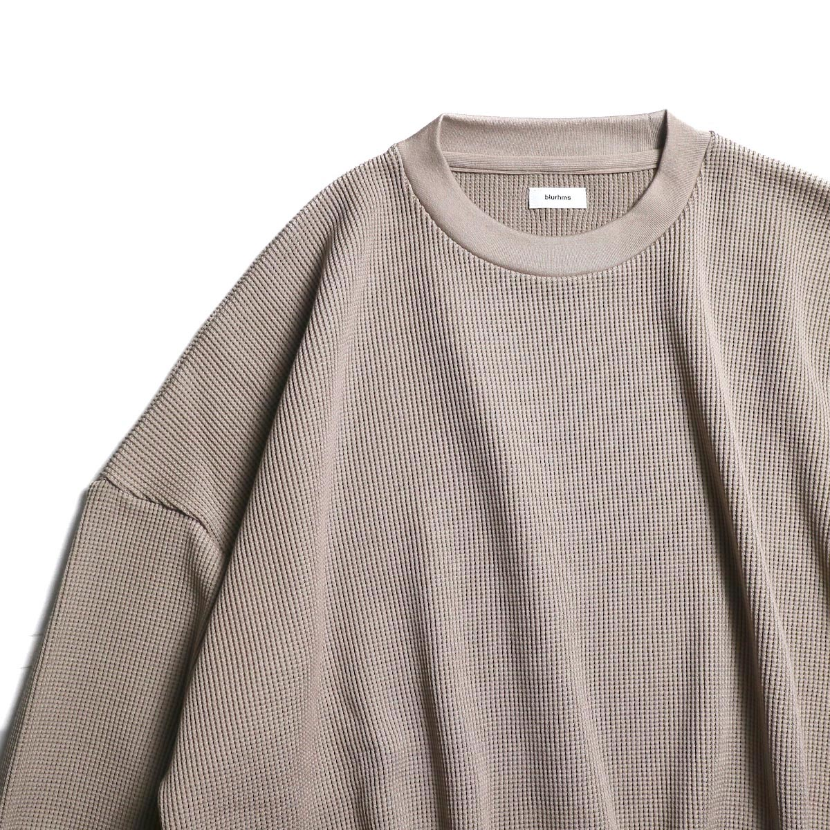 blurhms / Cotton Cupro Waffle Pullover L/S (GreyBeige) 襟