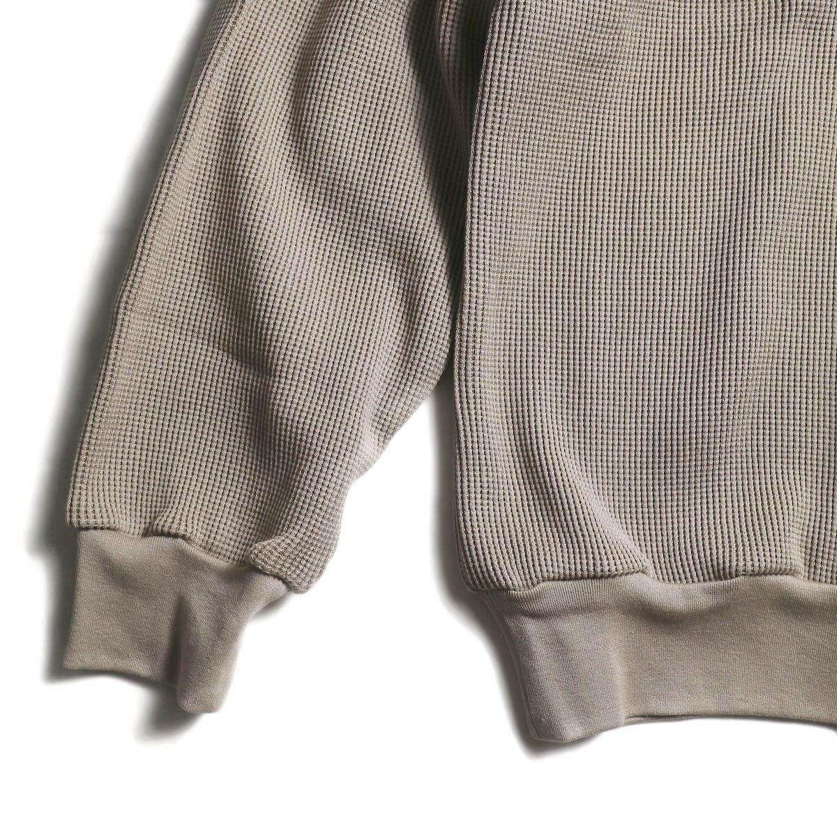 blurhms / Cotton Cupro Waffle Pullover L/S (GreyBeige) 袖、裾