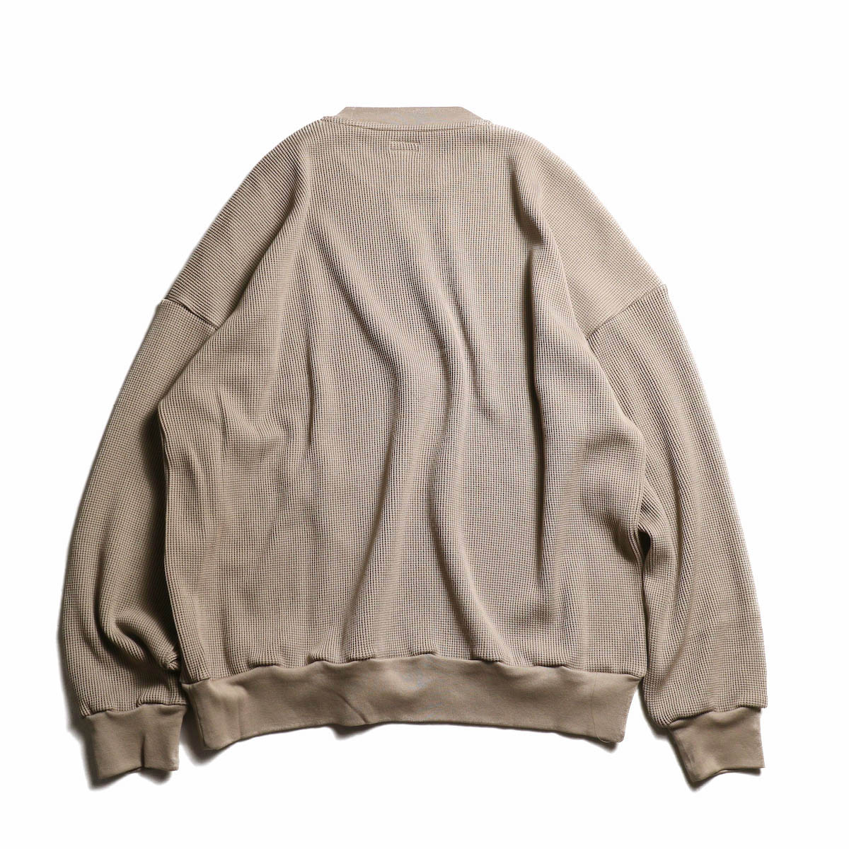 blurhms / Cotton Cupro Waffle Pullover L/S (GreyBeige)  背面