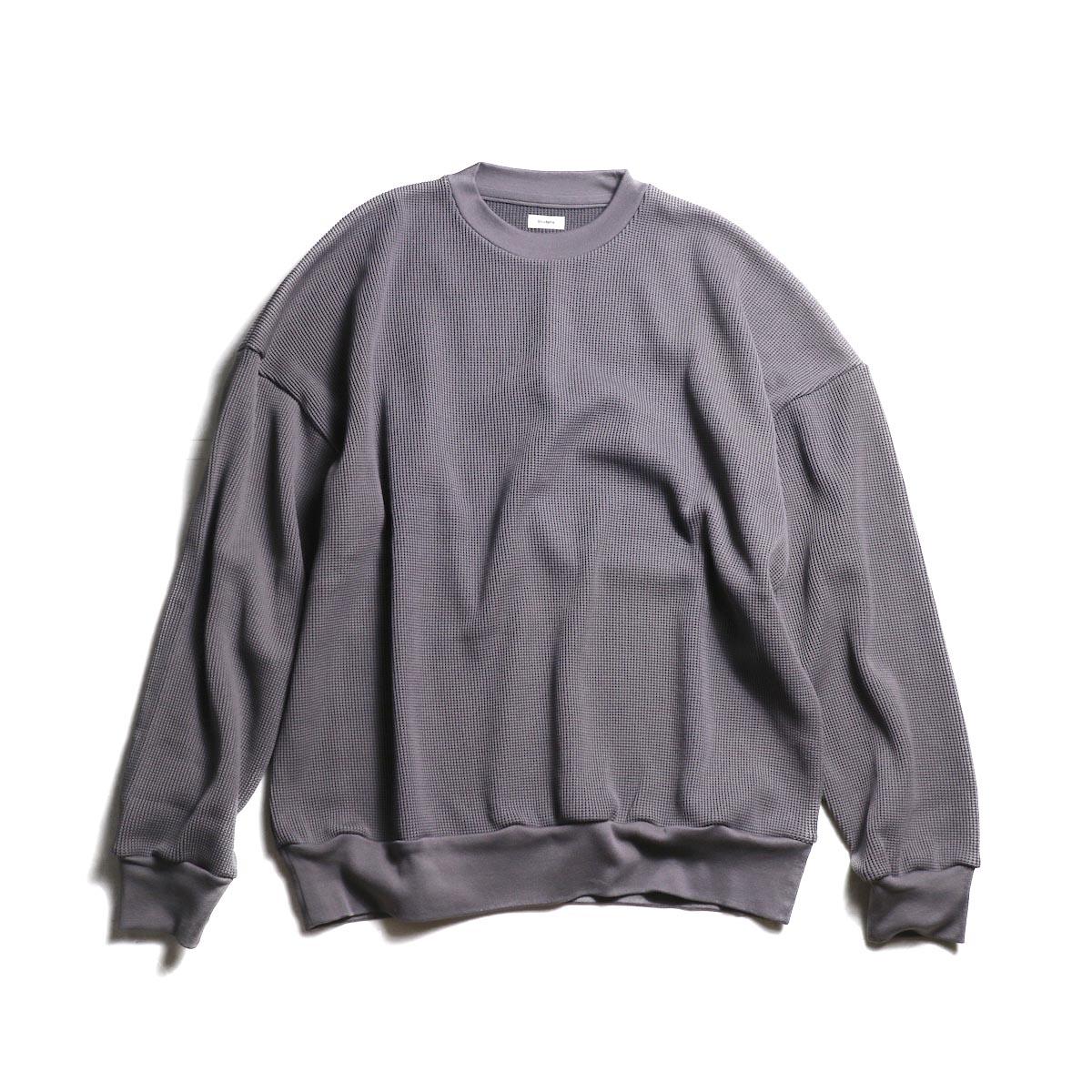 blurhms / Cotton Cupro Waffle Pullover L/S (PurpleGrey)正面