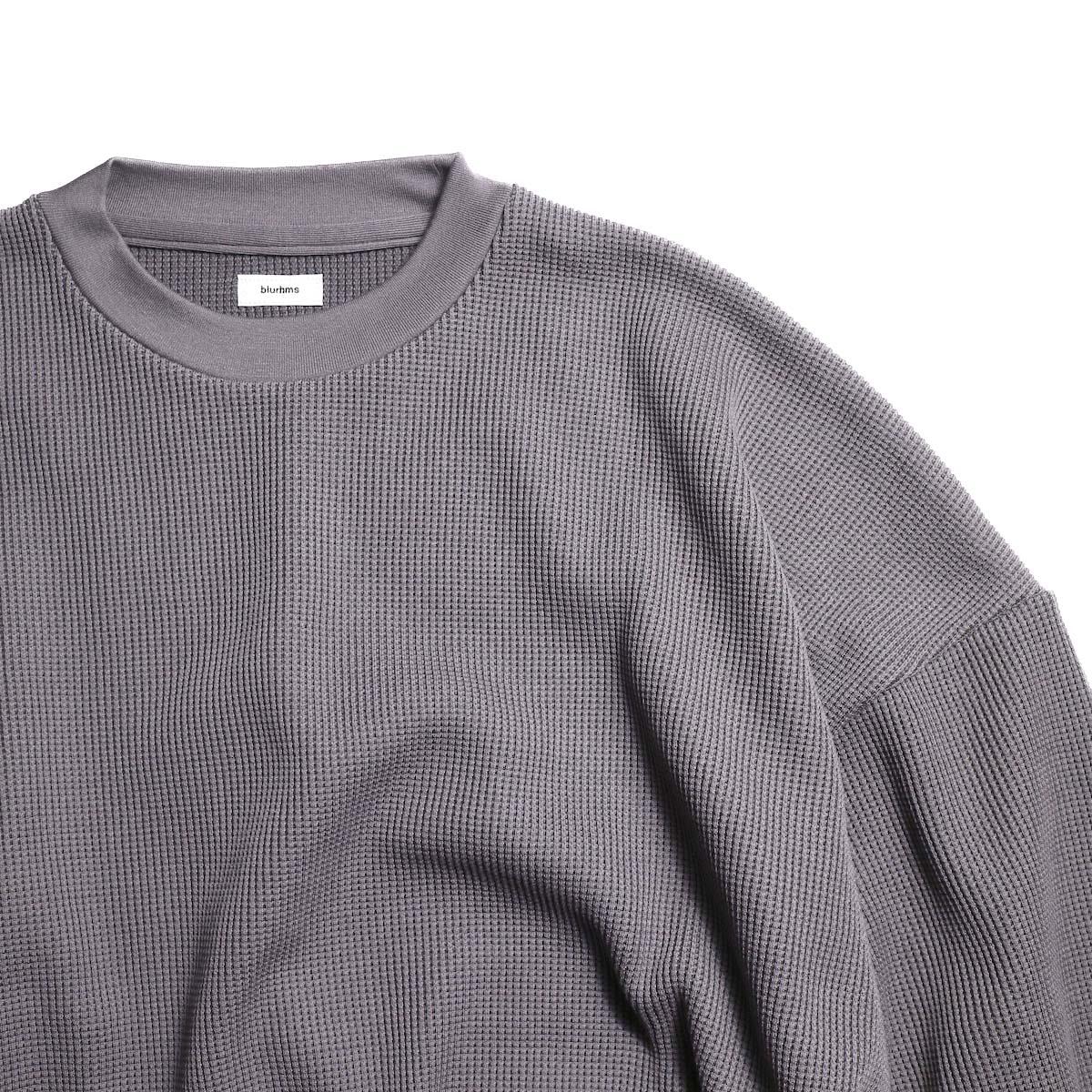blurhms / Cotton Cupro Waffle Pullover L/S (PurpleGrey 襟
