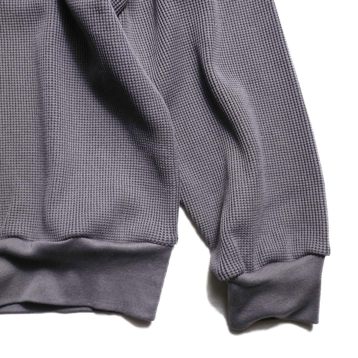 blurhms / Cotton Cupro Waffle Pullover L/S (PurpleGrey  袖、裾