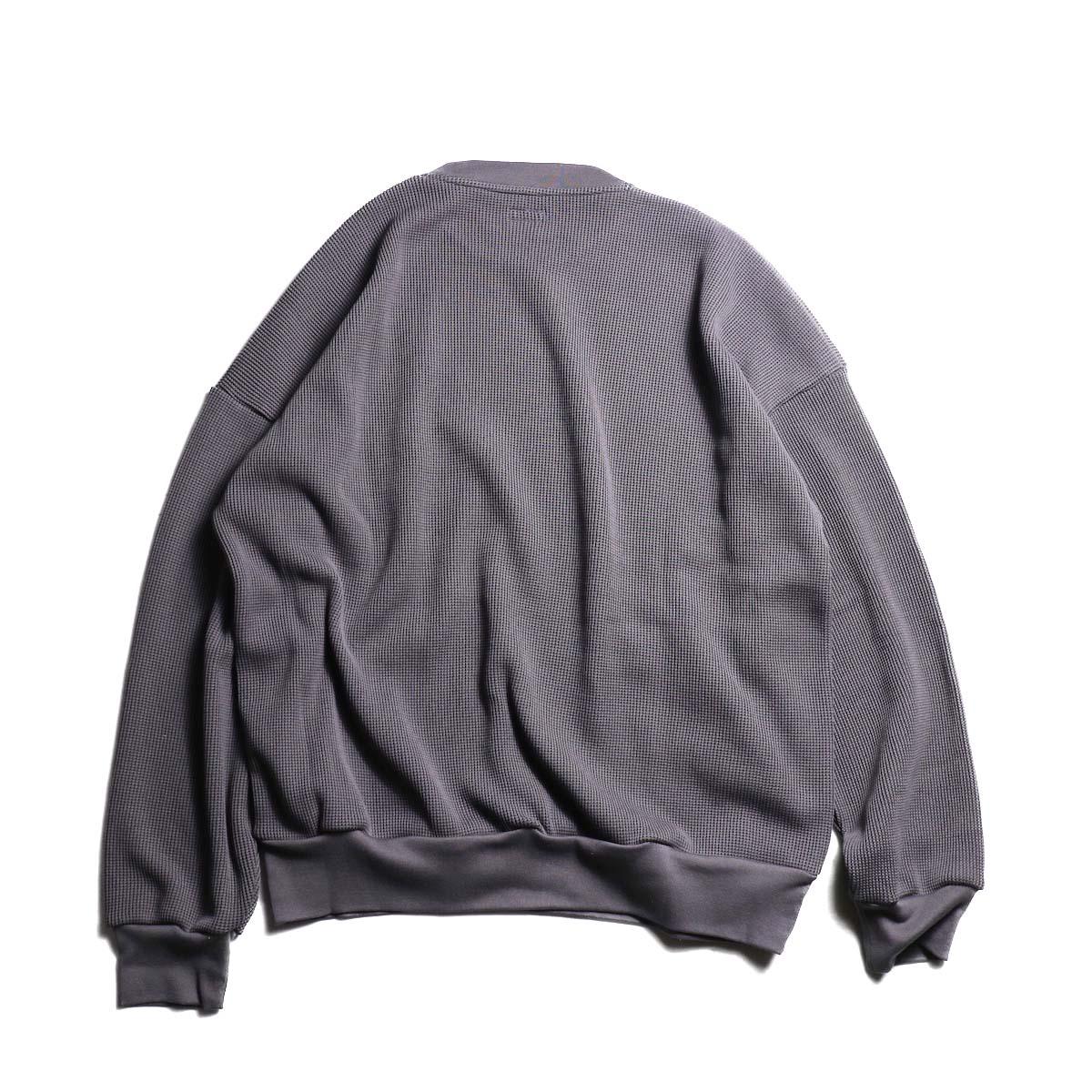 blurhms / Cotton Cupro Waffle Pullover L/S (PurpleGrey  背面