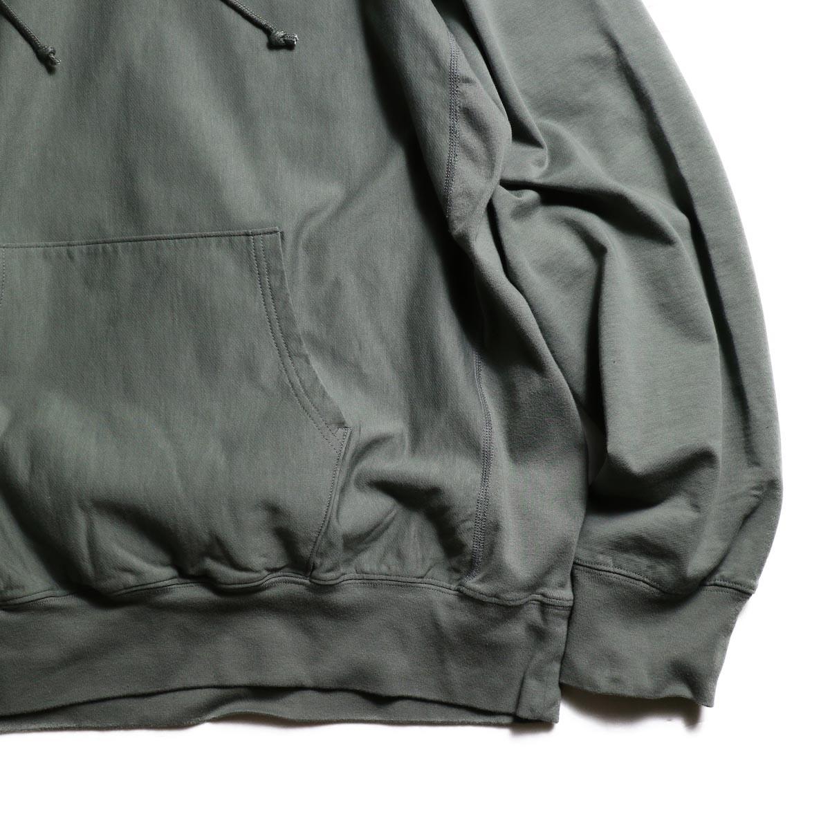 blurhms / High Gauge Sweat Hoodie P/O (Ash Olive)袖、裾