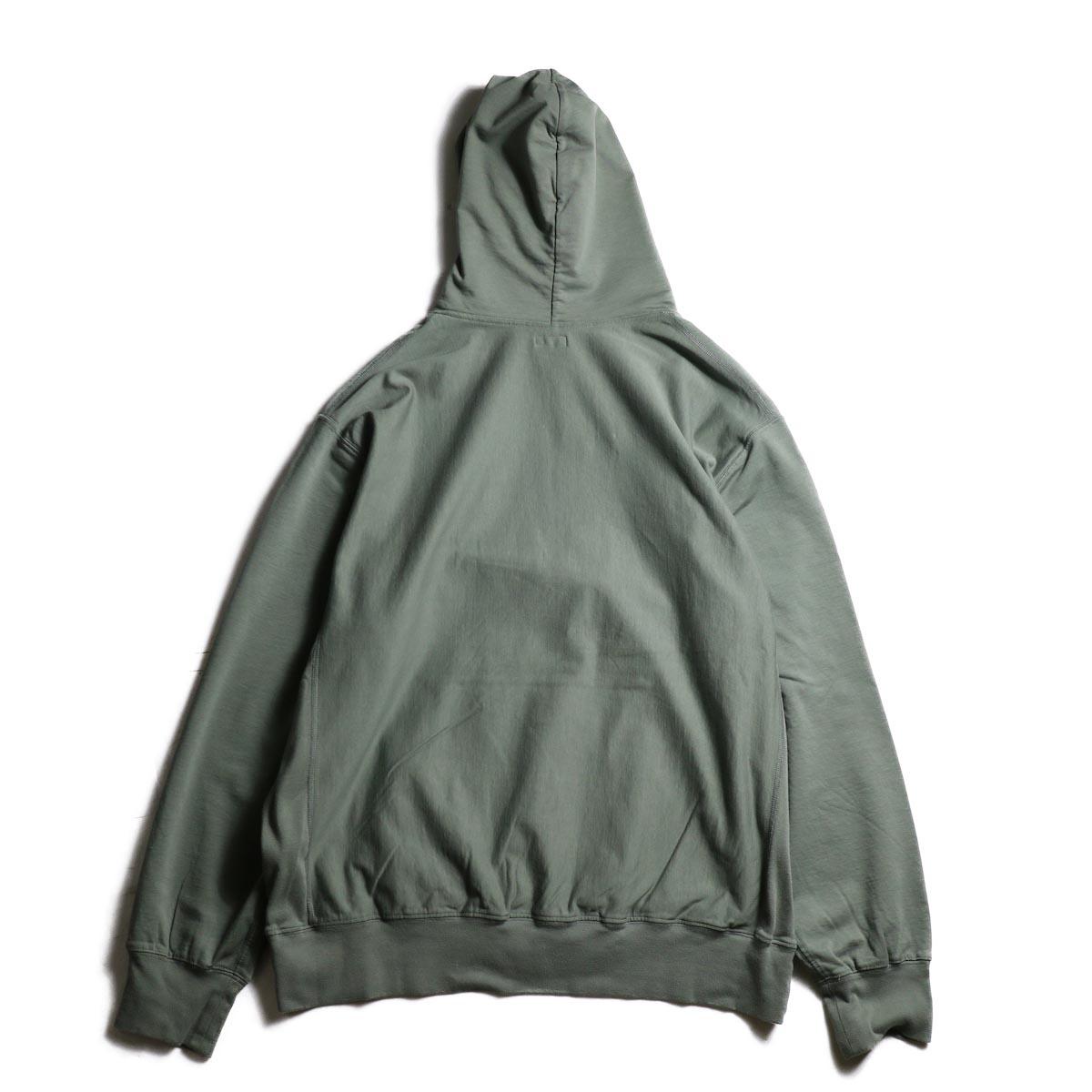 blurhms / High Gauge Sweat Hoodie P/O (Ash Olive)背面