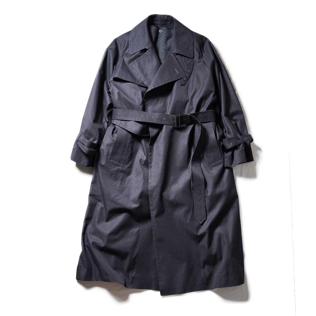 blurhms / Gabardine Double Belt Trench Coat (Heather Black)