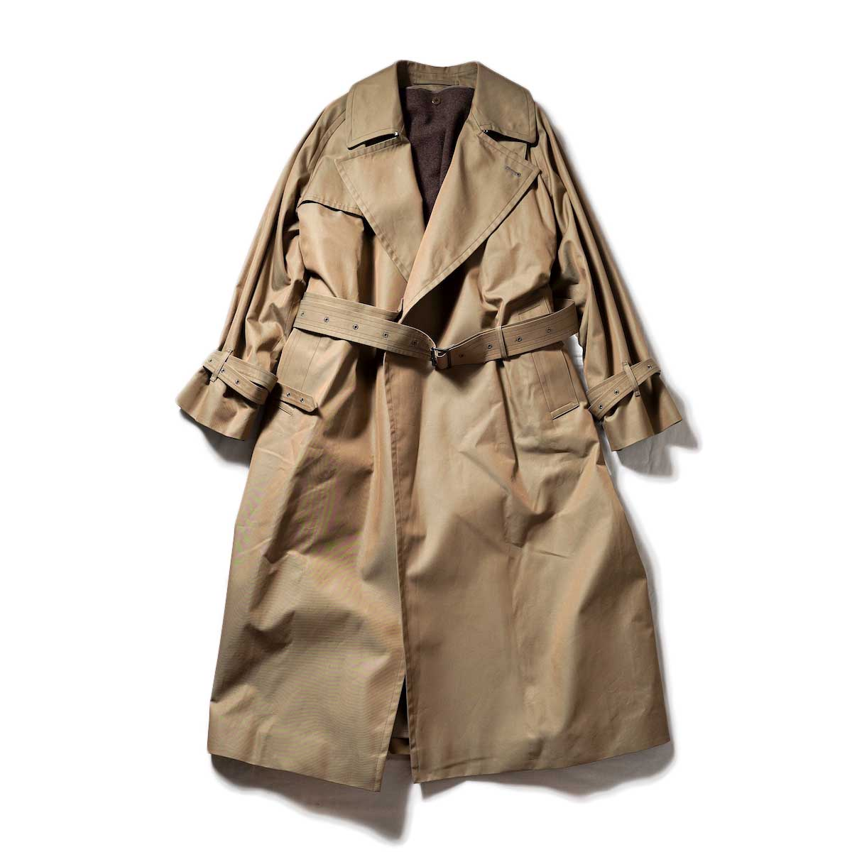 blurhms / Gabardine Double Belt Trench Coat (Khaki Beige)