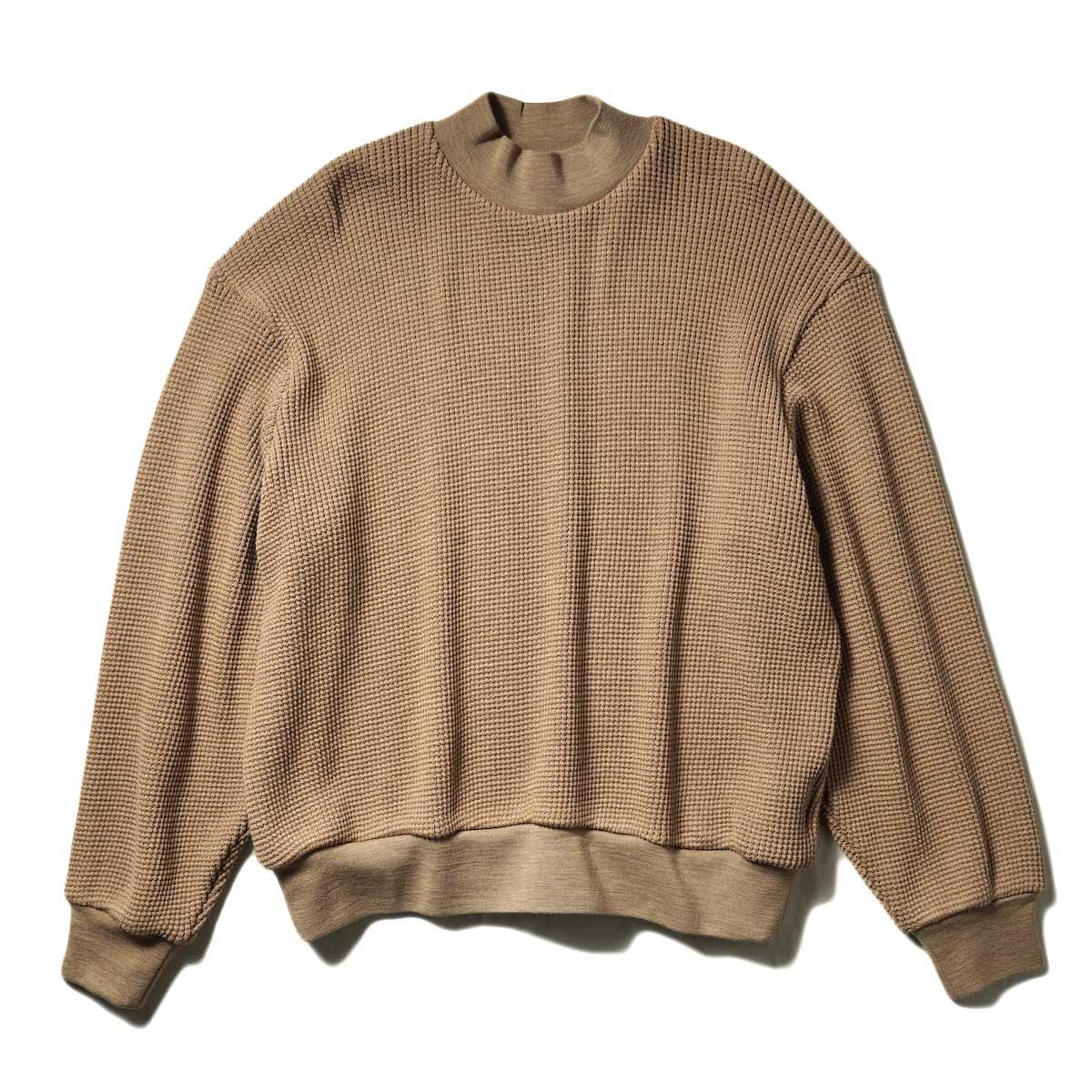 blurhms / Wool Cotton Big Waffle Mock-neck (Beige)